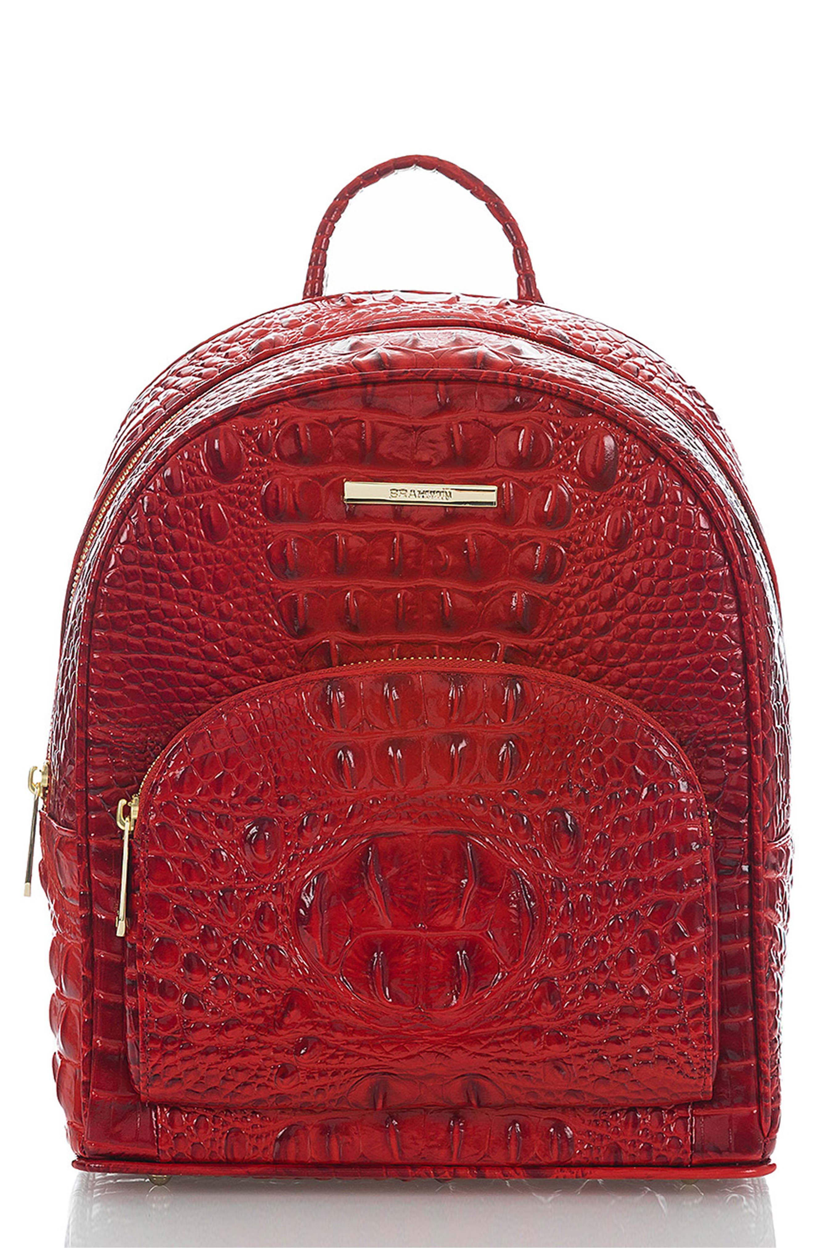 Mini Dartmouth Leather Backpack,                         Main,                         color, SCARLET