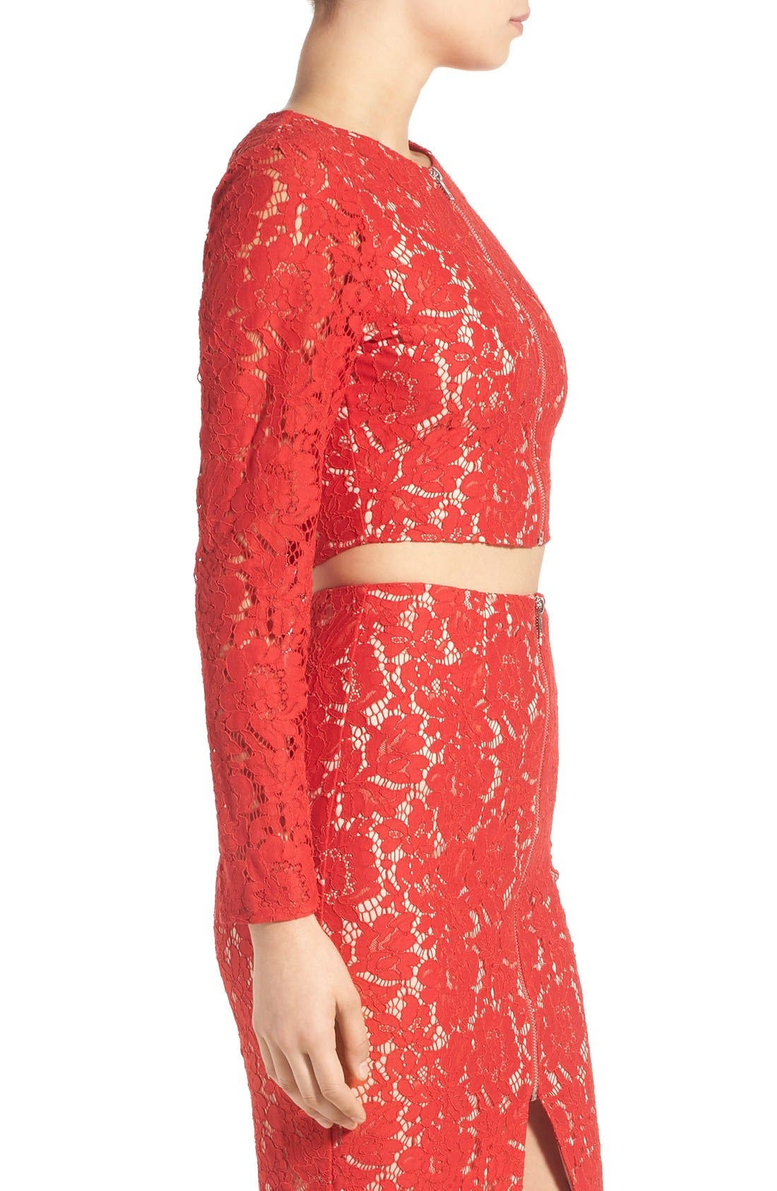 MISSGUIDED,                             Zip Front Lace Top,                             Alternate thumbnail 4, color,                             608