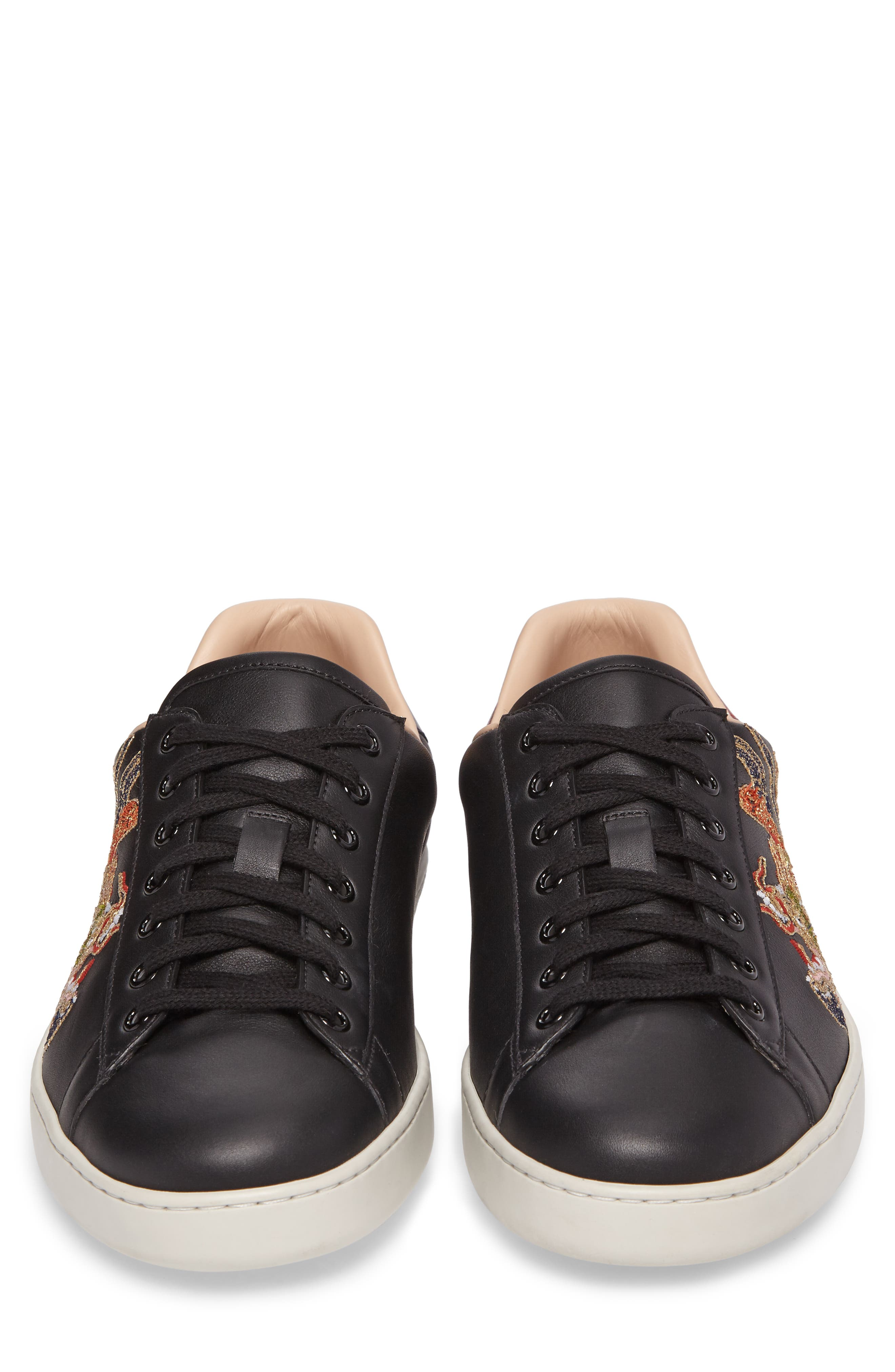 New Ace Embroidered Sneaker,                             Alternate thumbnail 4, color,                             009