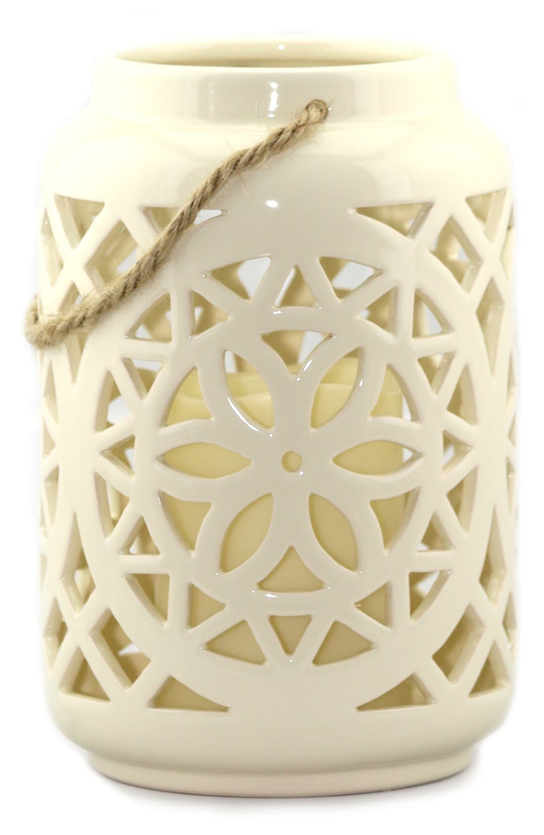 Ceramic Lantern & All-Weather Flameless Candle,                             Main thumbnail 3, color,