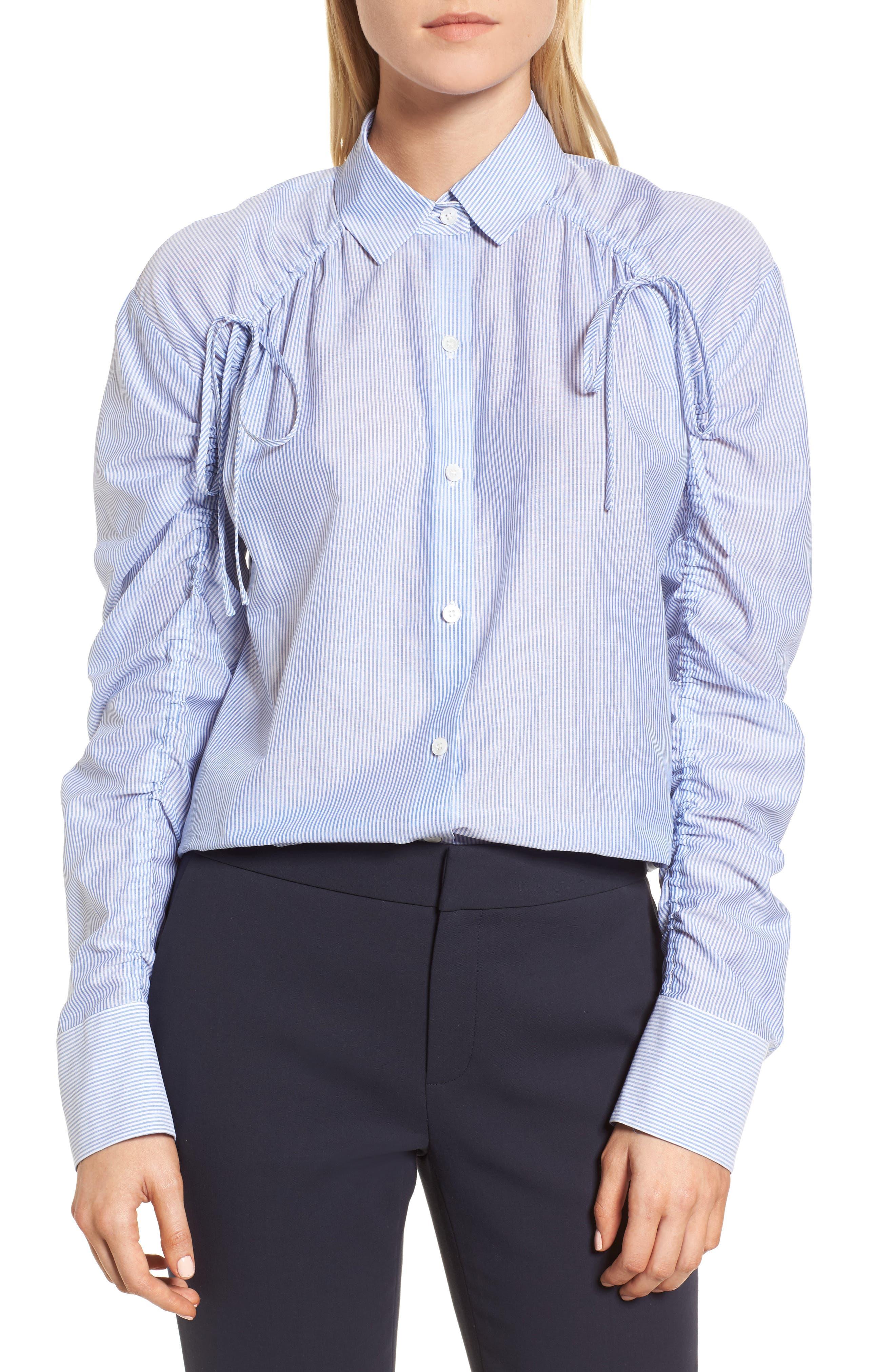 Ruched Sleeve Stripe Shirt,                             Main thumbnail 1, color,