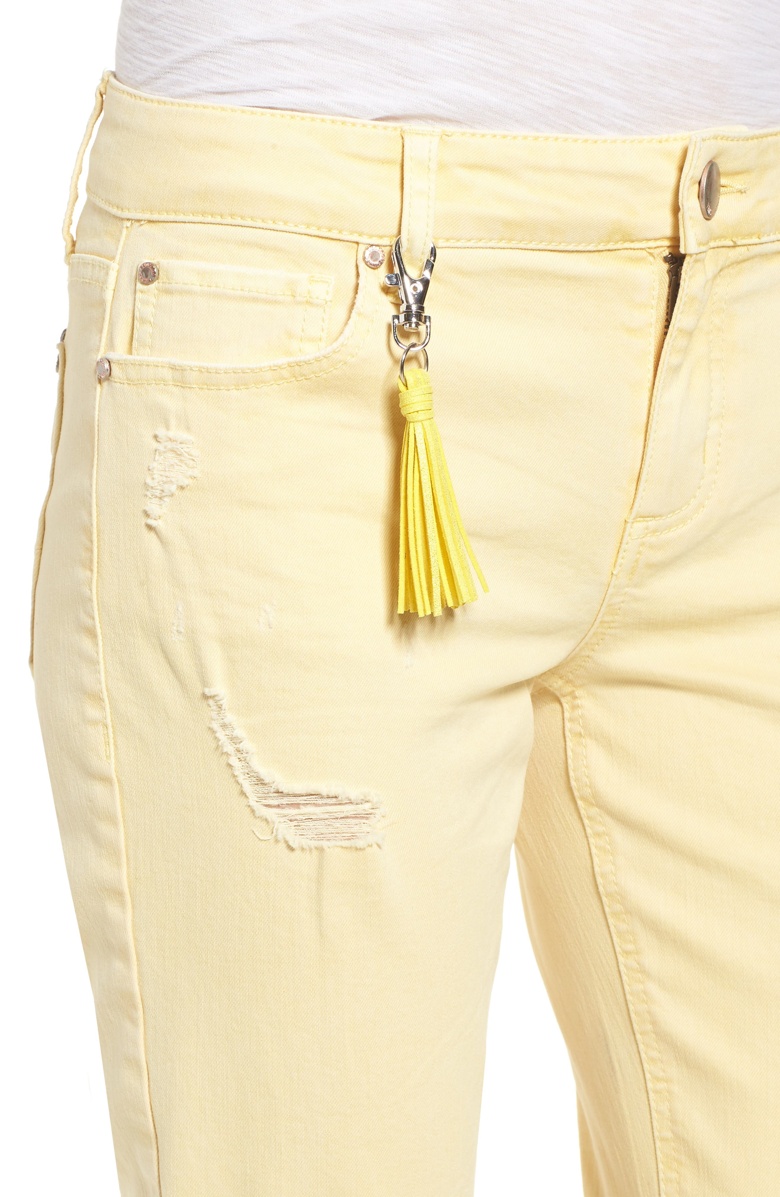Distressed Roll Cuff Skinny Jeans,                             Alternate thumbnail 17, color,