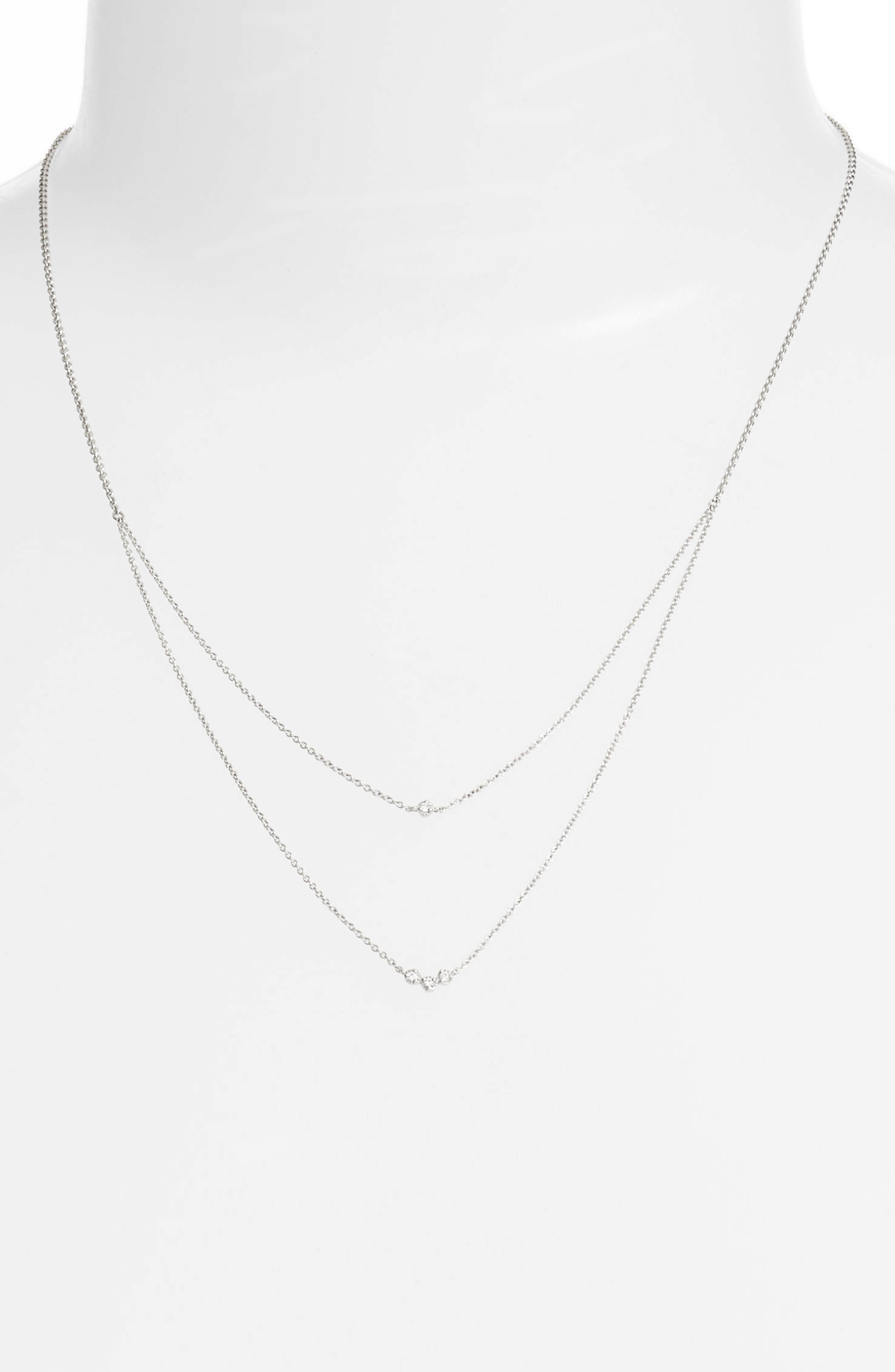 Mila Double Layer Diamond Station Necklace,                             Alternate thumbnail 2, color,                             711