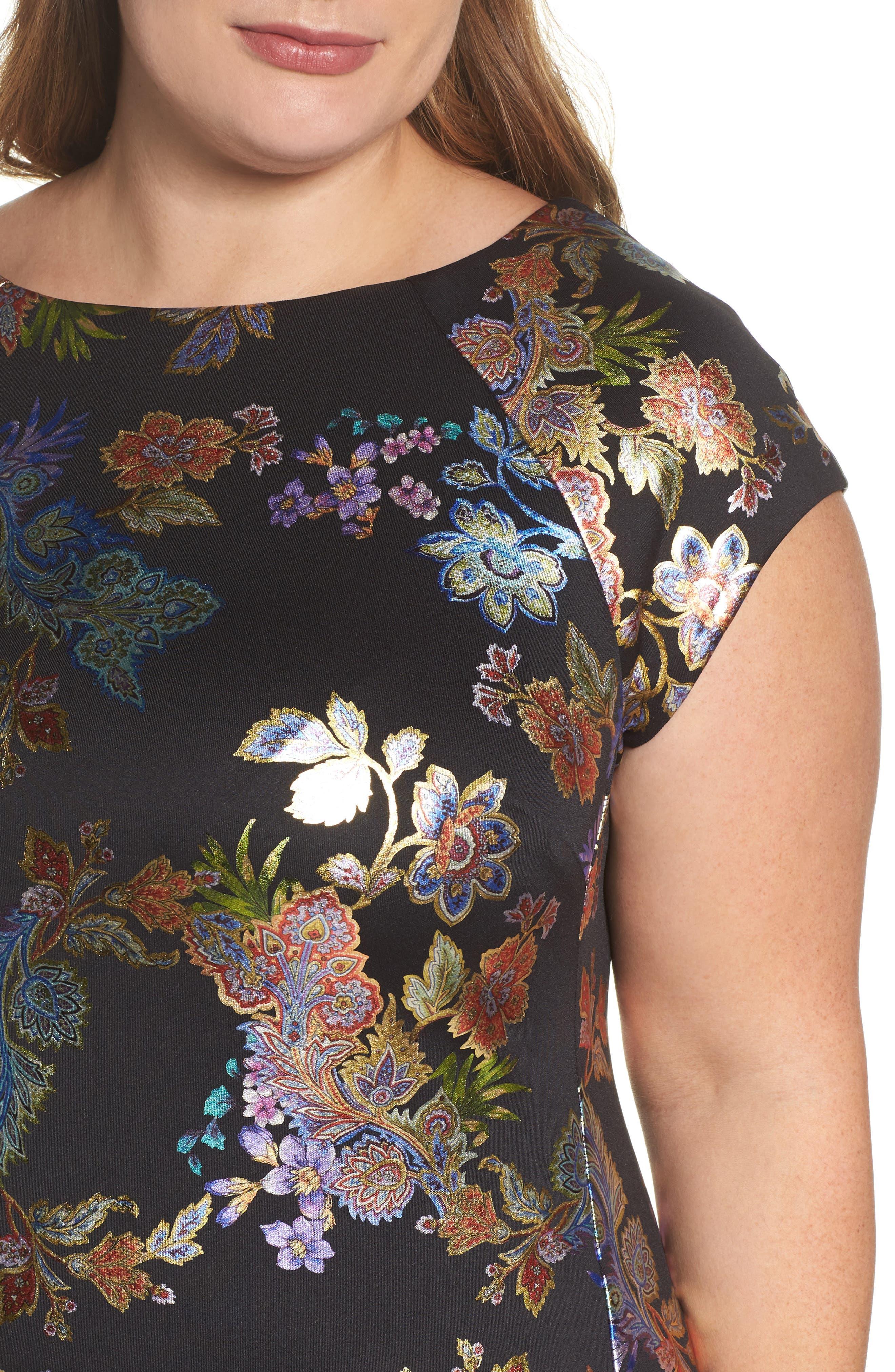 Foil Print Sheath Dress,                             Alternate thumbnail 4, color,