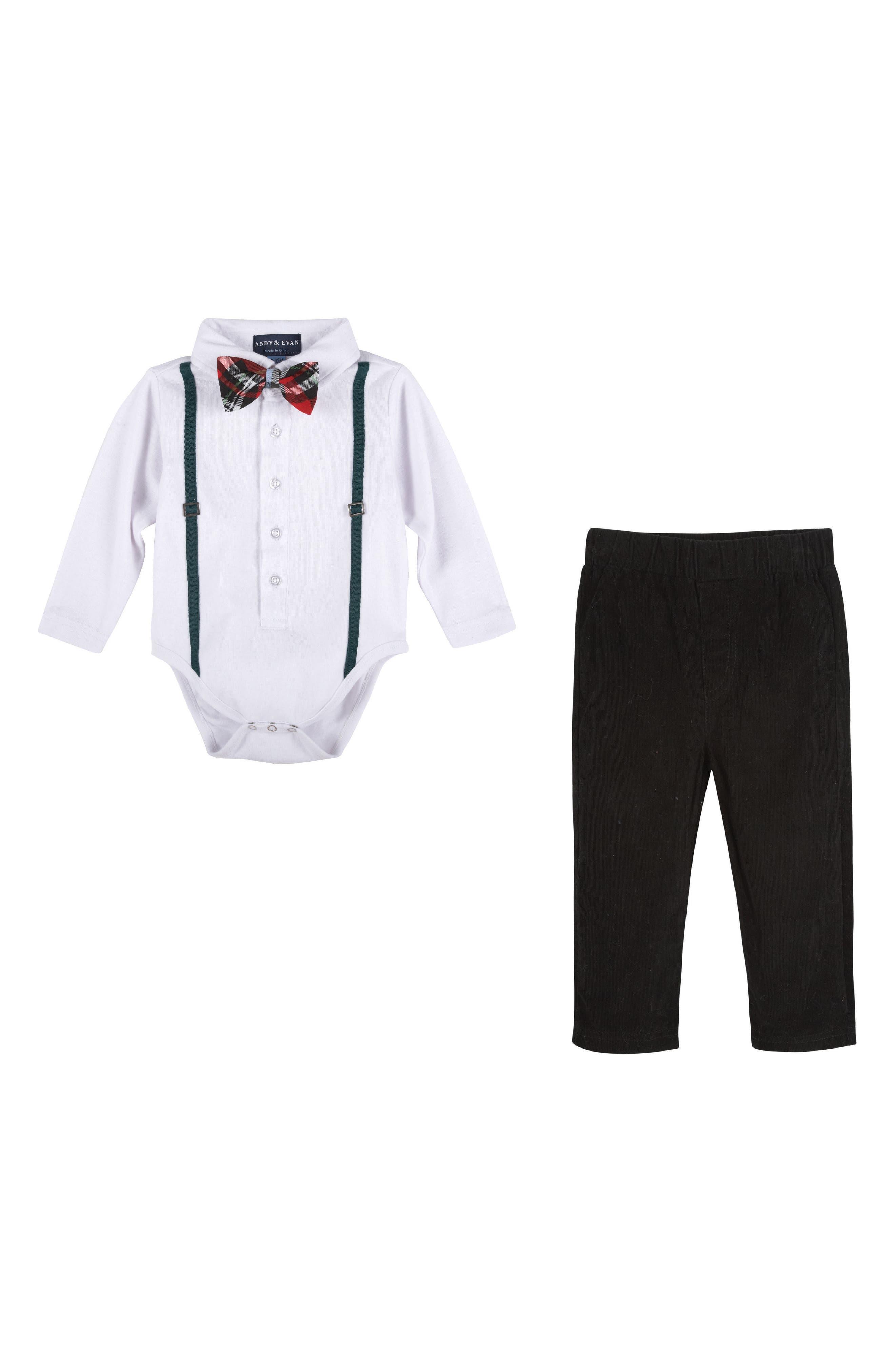 Bodysuit, Bow Tie & Pants Set,                         Main,                         color, 105