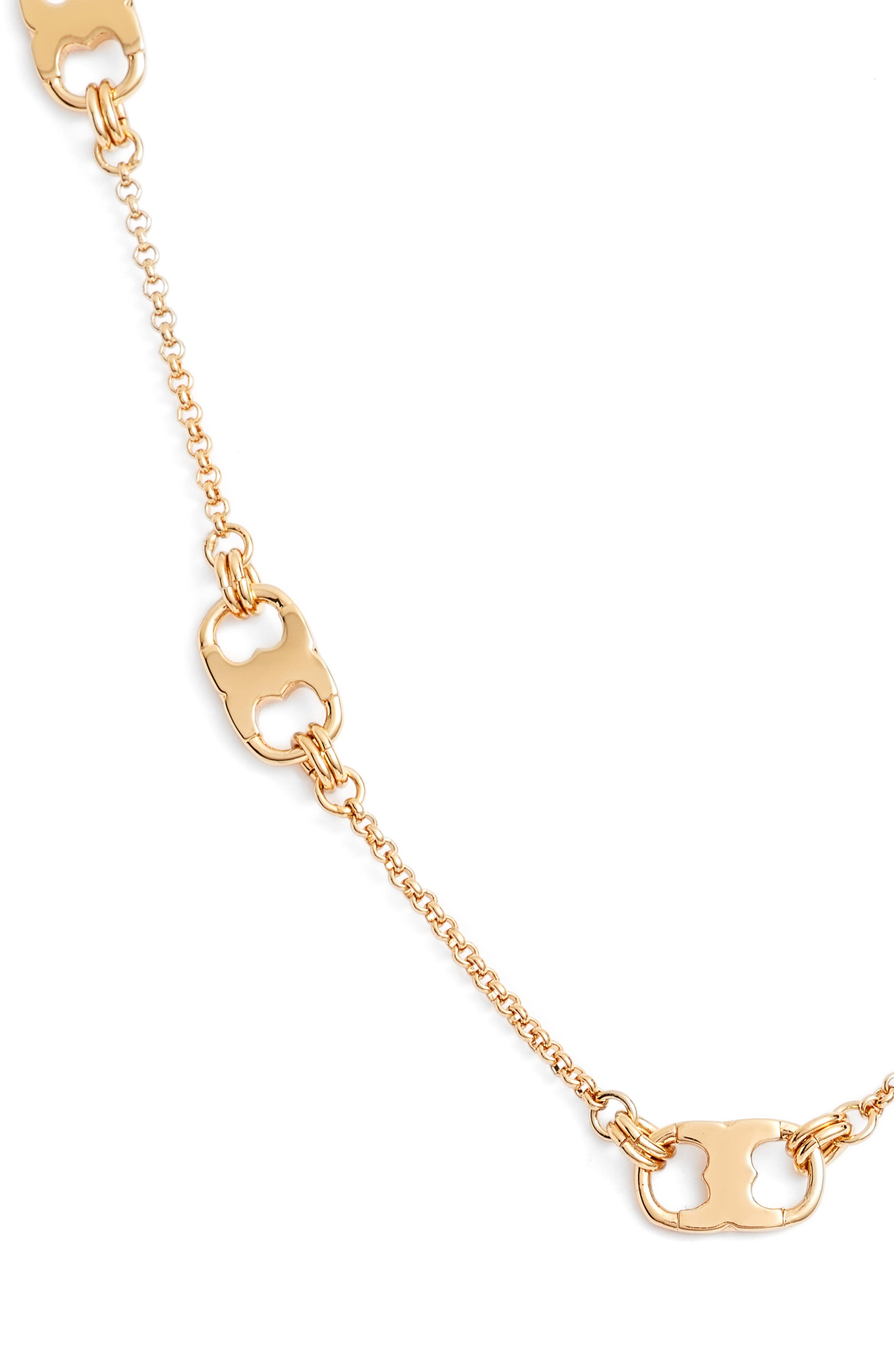 Gemini Link Station Necklace,                             Alternate thumbnail 2, color,                             TORY GOLD