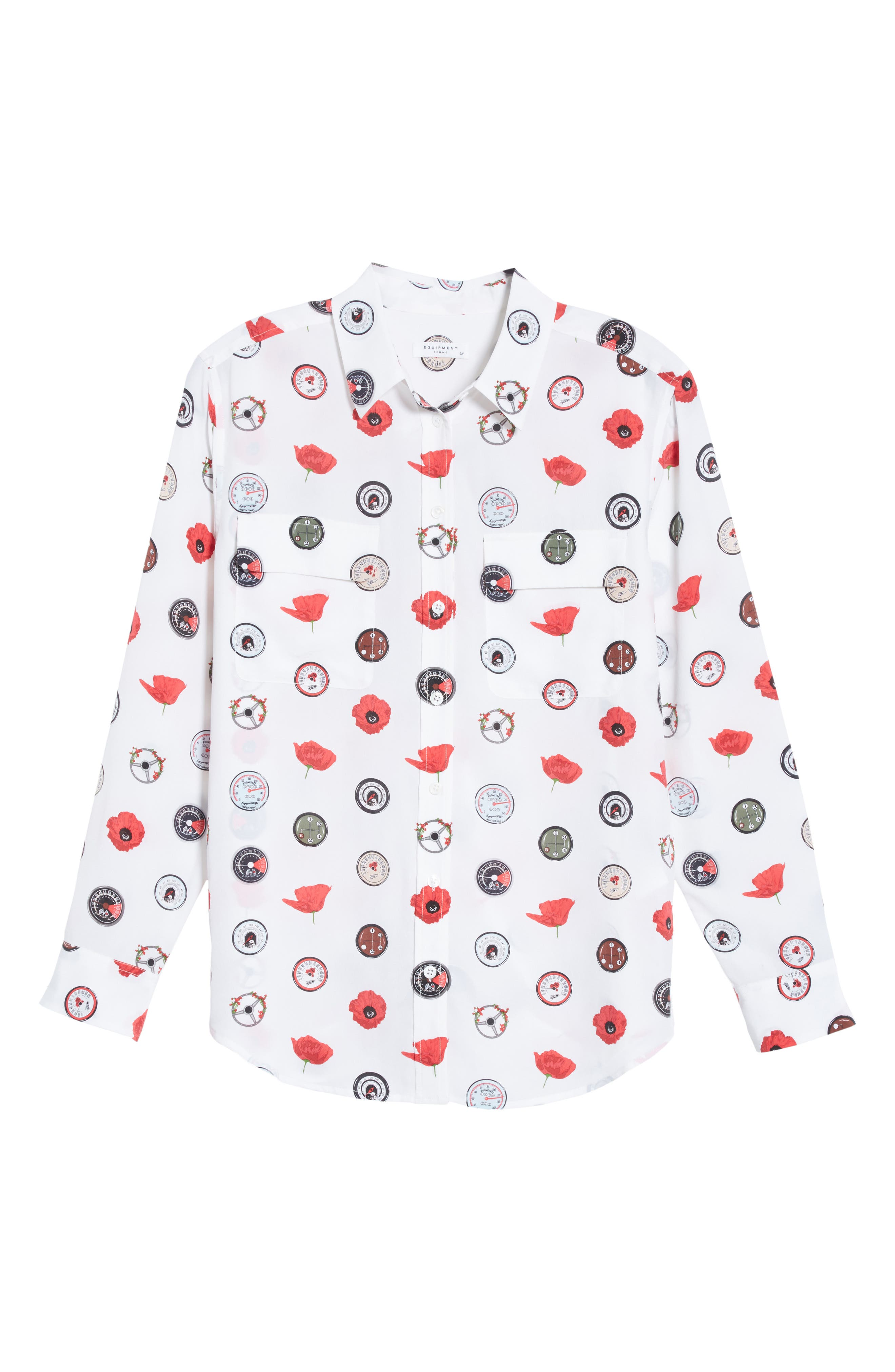 Signature Print Silk Shirt,                             Alternate thumbnail 6, color,