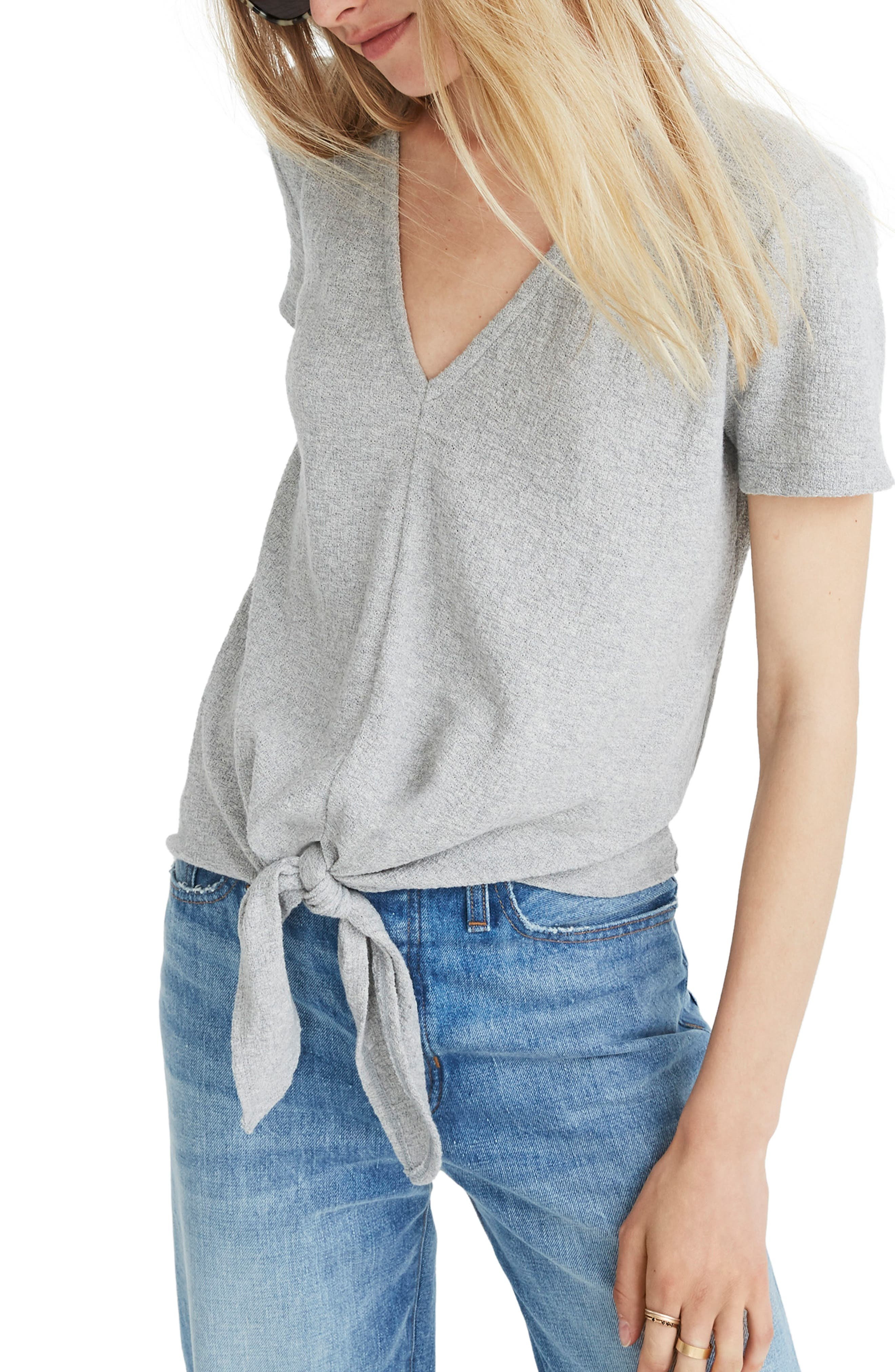 Texture & Thread V-Neck Modern Tie-Front Top,                             Main thumbnail 1, color,                             HEATHER PELICAN