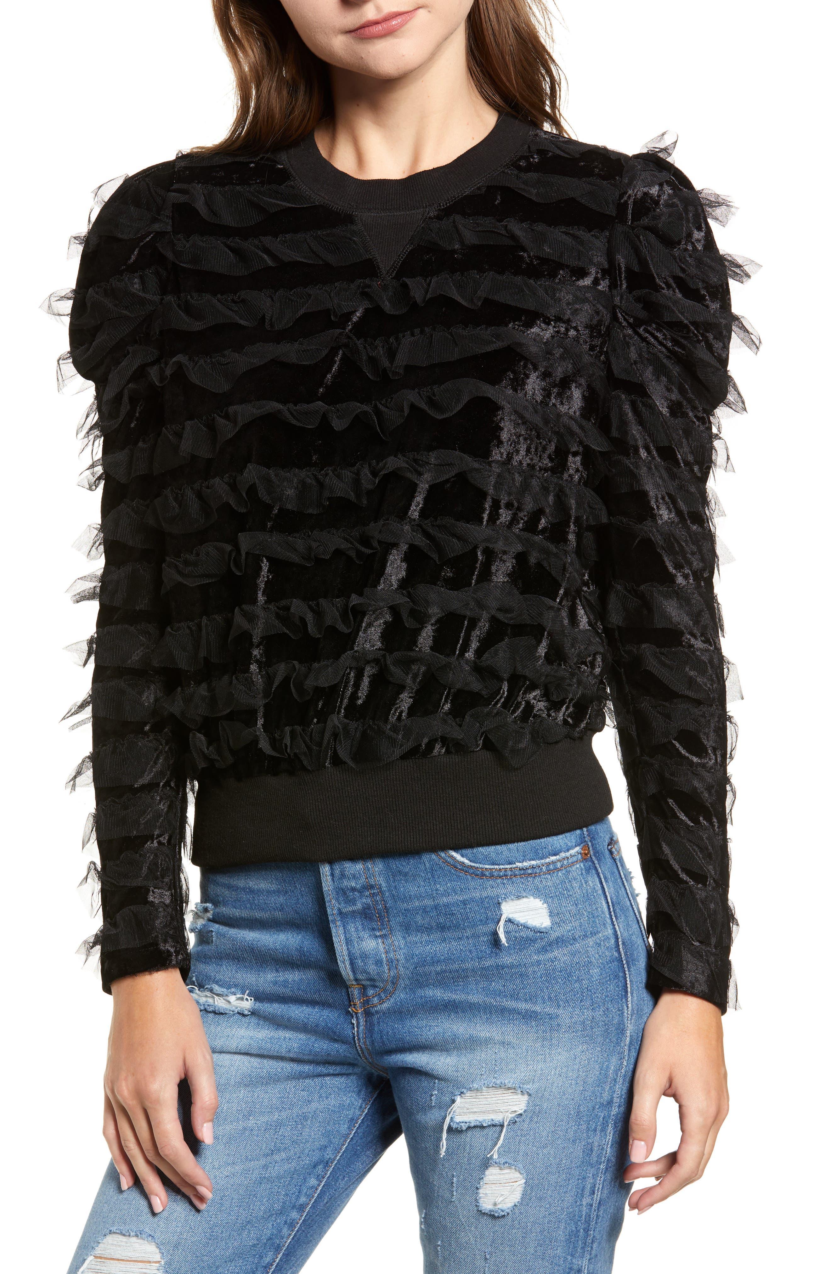 Tulle Ruffle Velour Pullover,                             Main thumbnail 1, color,                             BLACK MESH