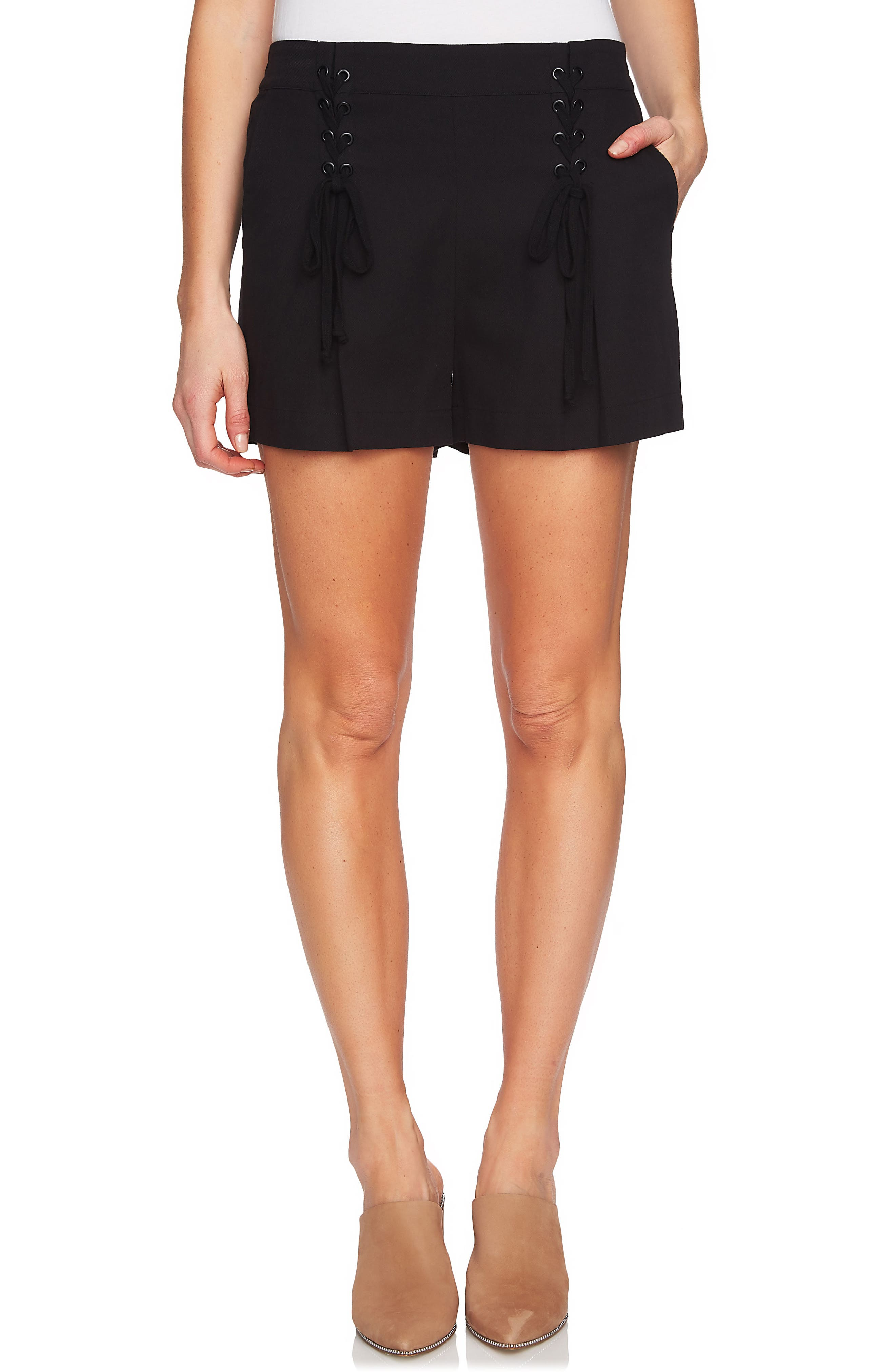 Lace-Up Detail Flat Front Shorts,                         Main,                         color, 001