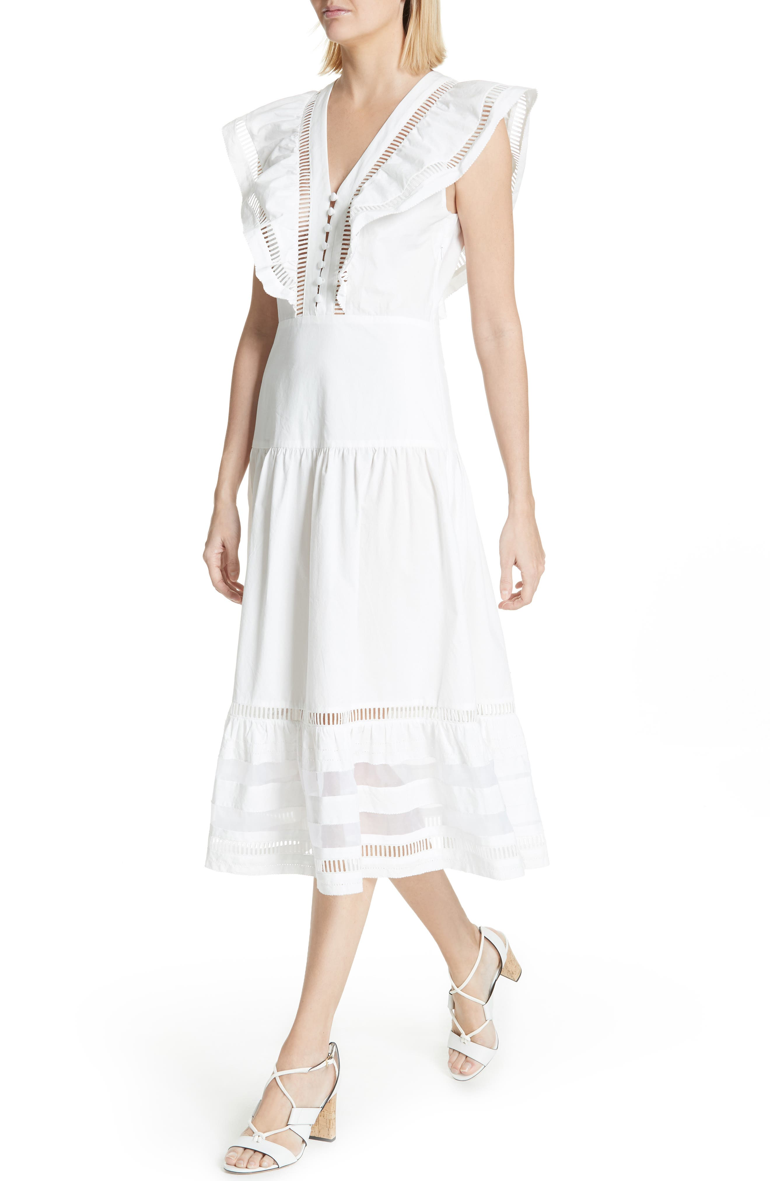 Capri Ladder Stitch Trim Midi Dress,                             Alternate thumbnail 4, color,                             903