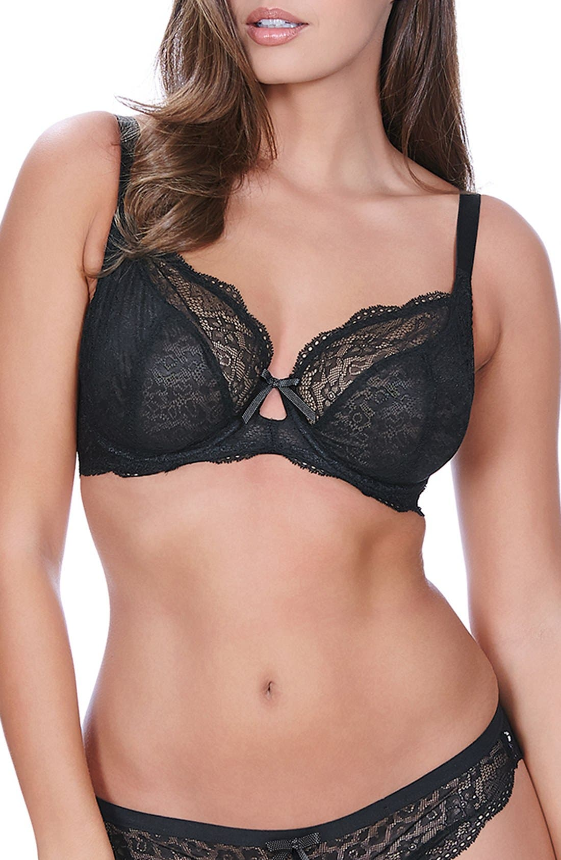 Fancies Underwire Plunge Bra,                             Main thumbnail 1, color,                             BLACK