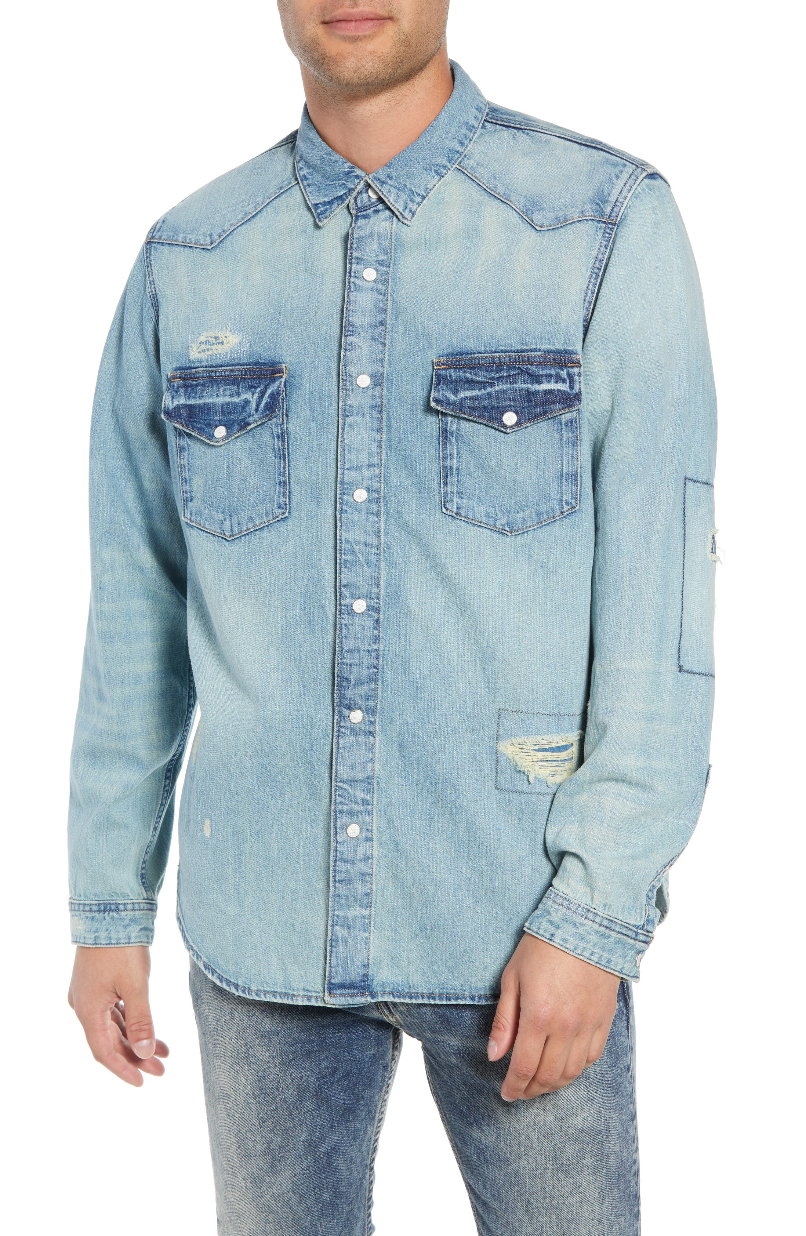 Western Denim Sport Shirt,                             Alternate thumbnail 2, color,                             450