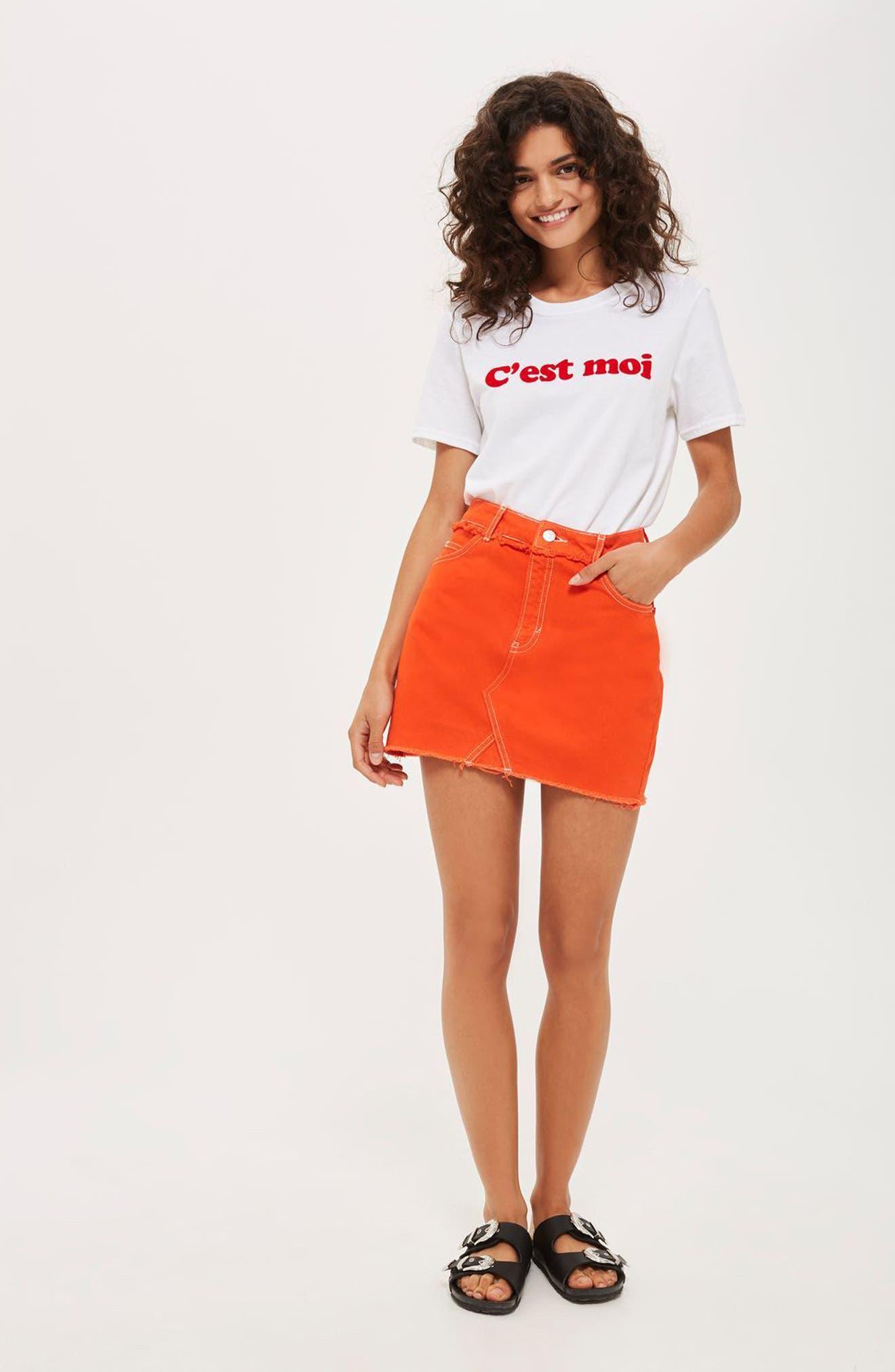 Denim Miniskirt,                             Alternate thumbnail 4, color,                             600