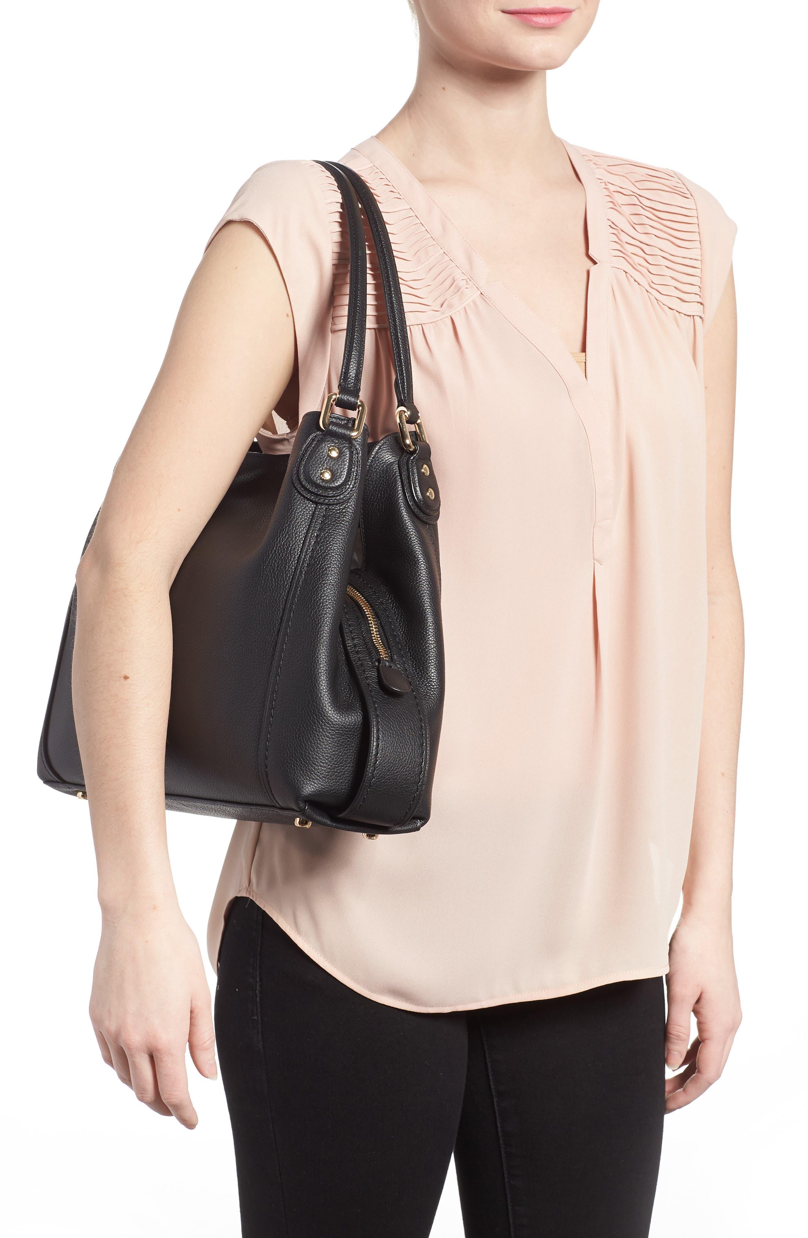 Edie 31 Pebbled Leather Shoulder Bag,                             Alternate thumbnail 2, color,                             BLACK