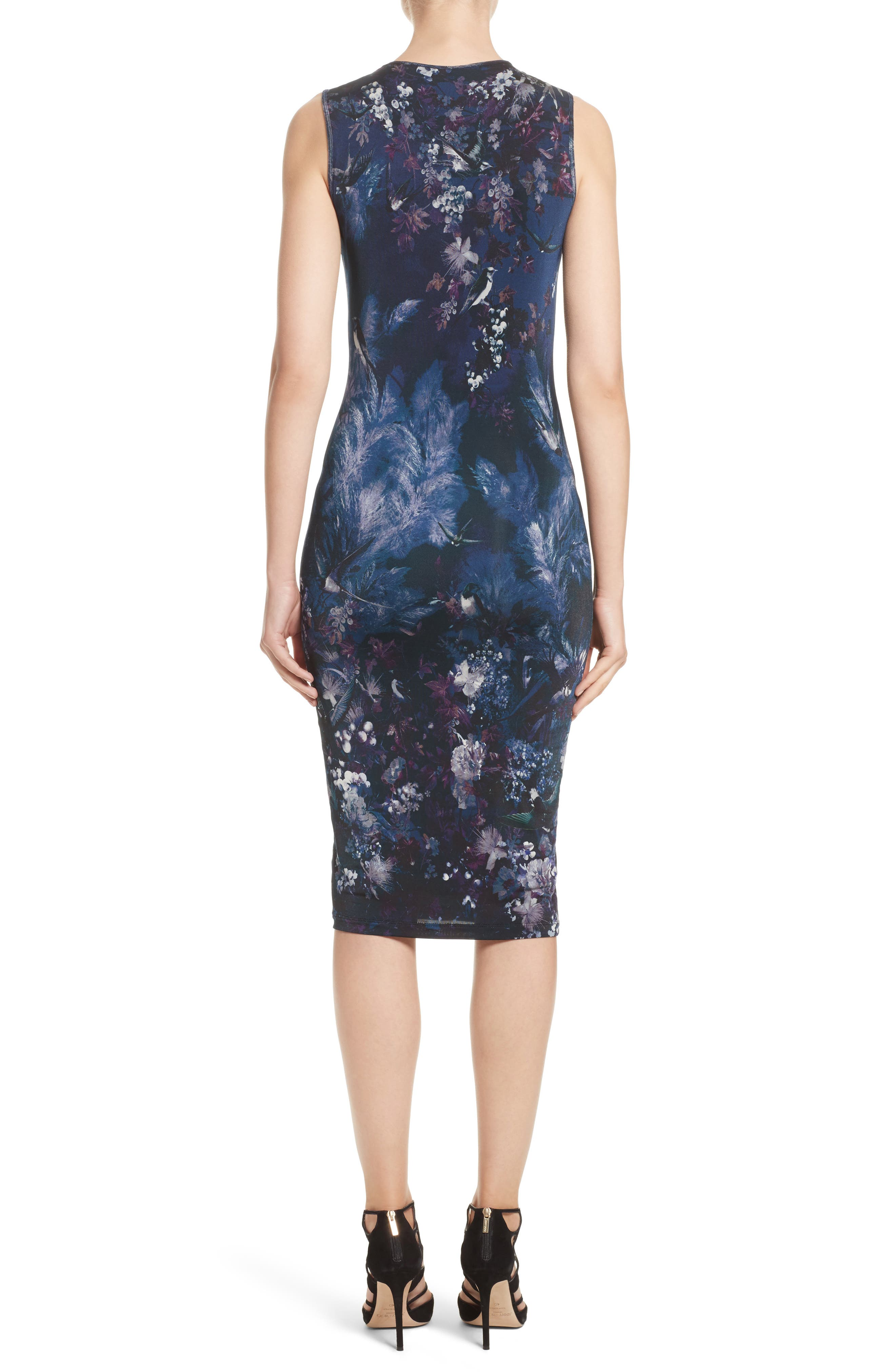 Hummingbird Print Jersey Dress,                             Alternate thumbnail 2, color,                             500
