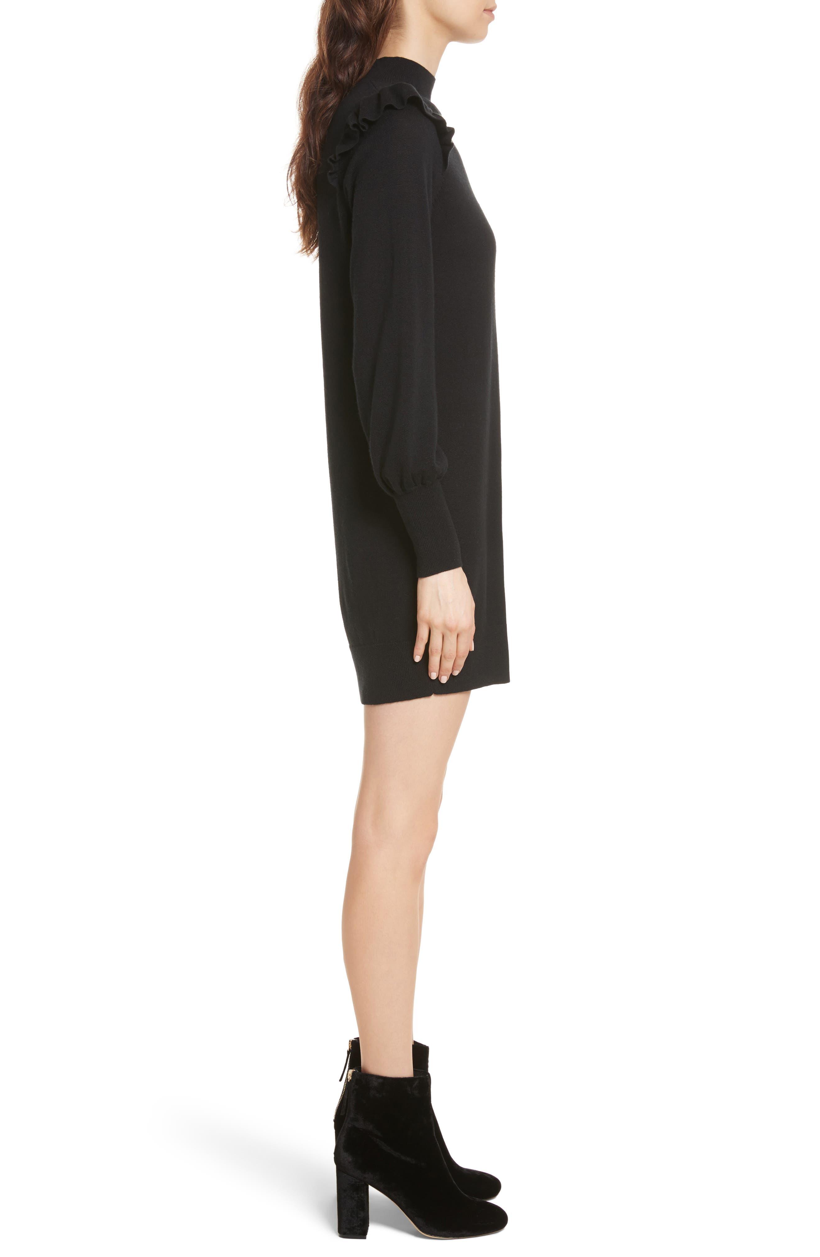 Catriona Wool & Silk Sweater Dress,                             Alternate thumbnail 3, color,                             002