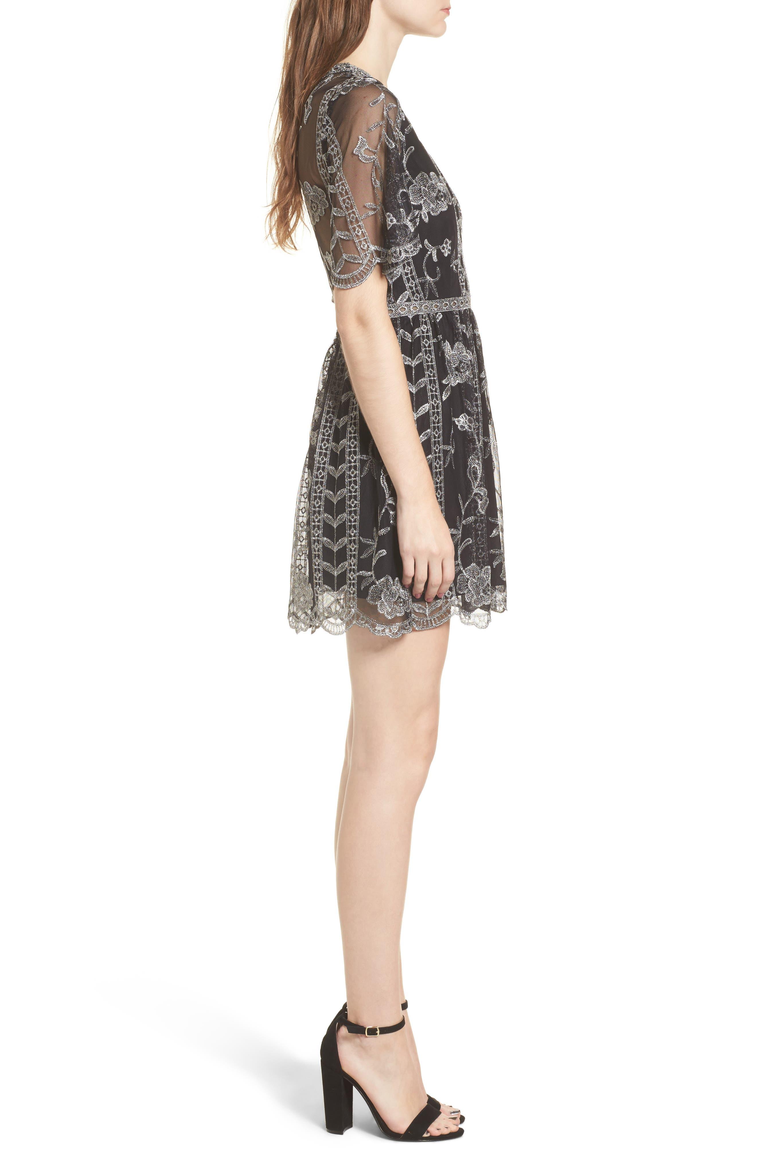 Plunging Lace Dress,                             Alternate thumbnail 3, color,