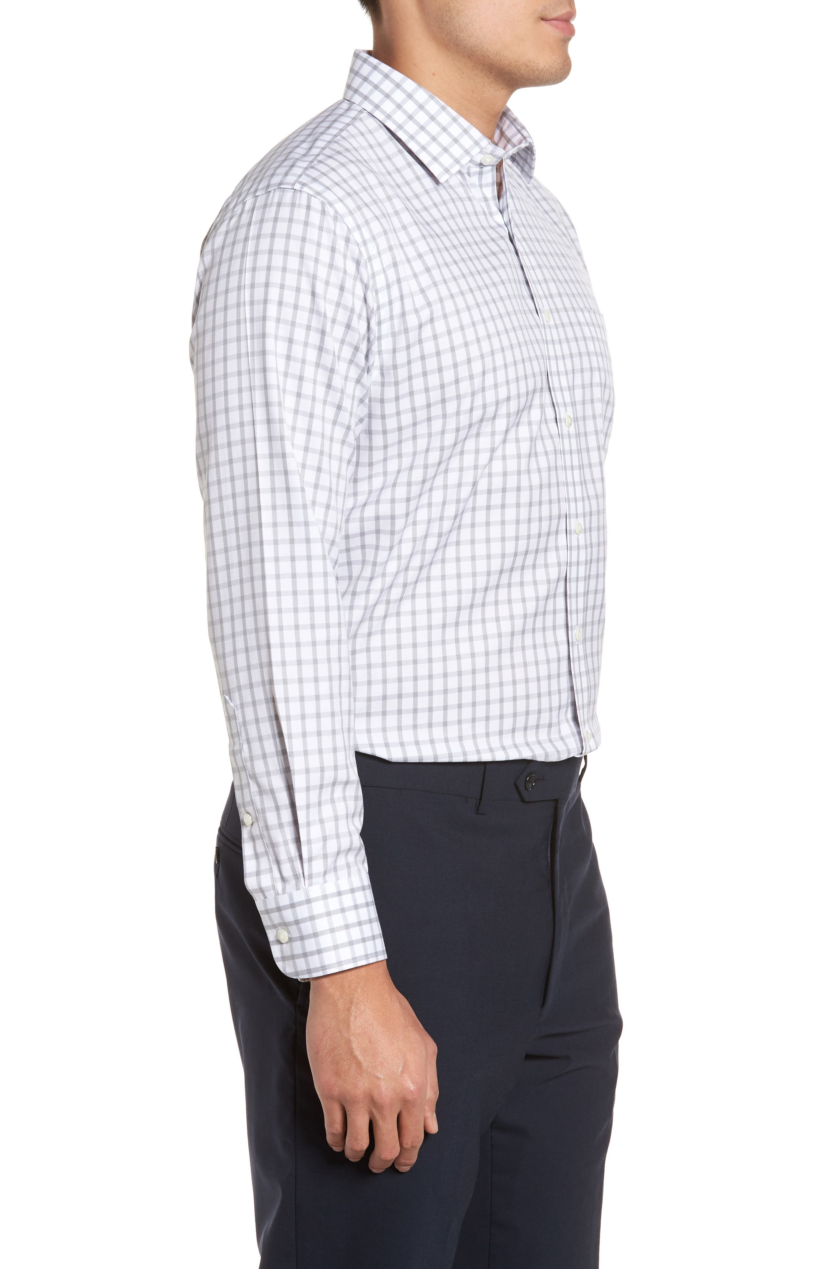Smartcare<sup>™</sup> Trim Fit Check Dress Shirt,                             Alternate thumbnail 4, color,                             050