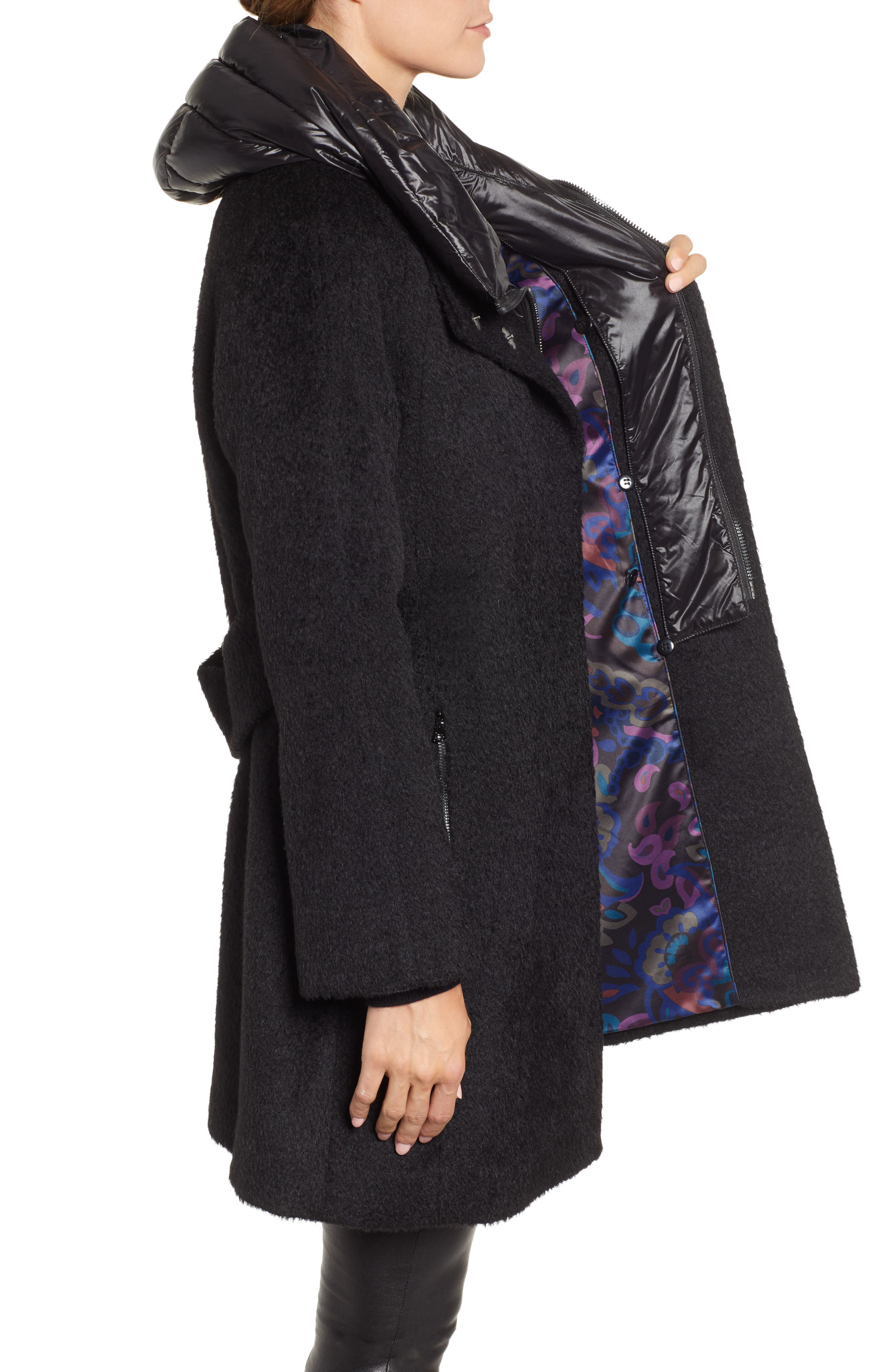Coat with Hooded Bib,                             Alternate thumbnail 3, color,                             BLACK