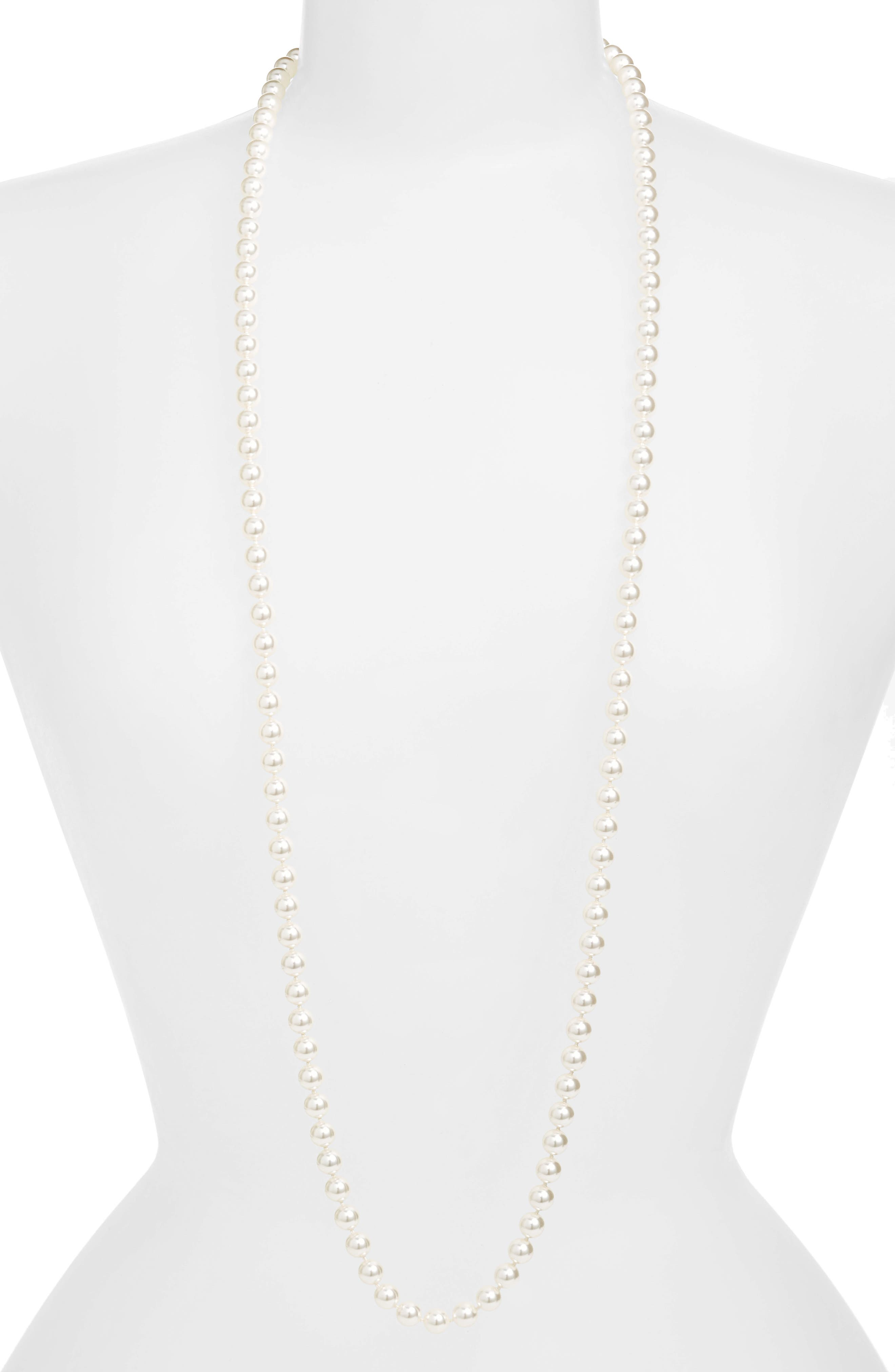 42-Inch Glass Pearl Strand Rope Necklace,                             Main thumbnail 1, color,                             WHITE PEARL
