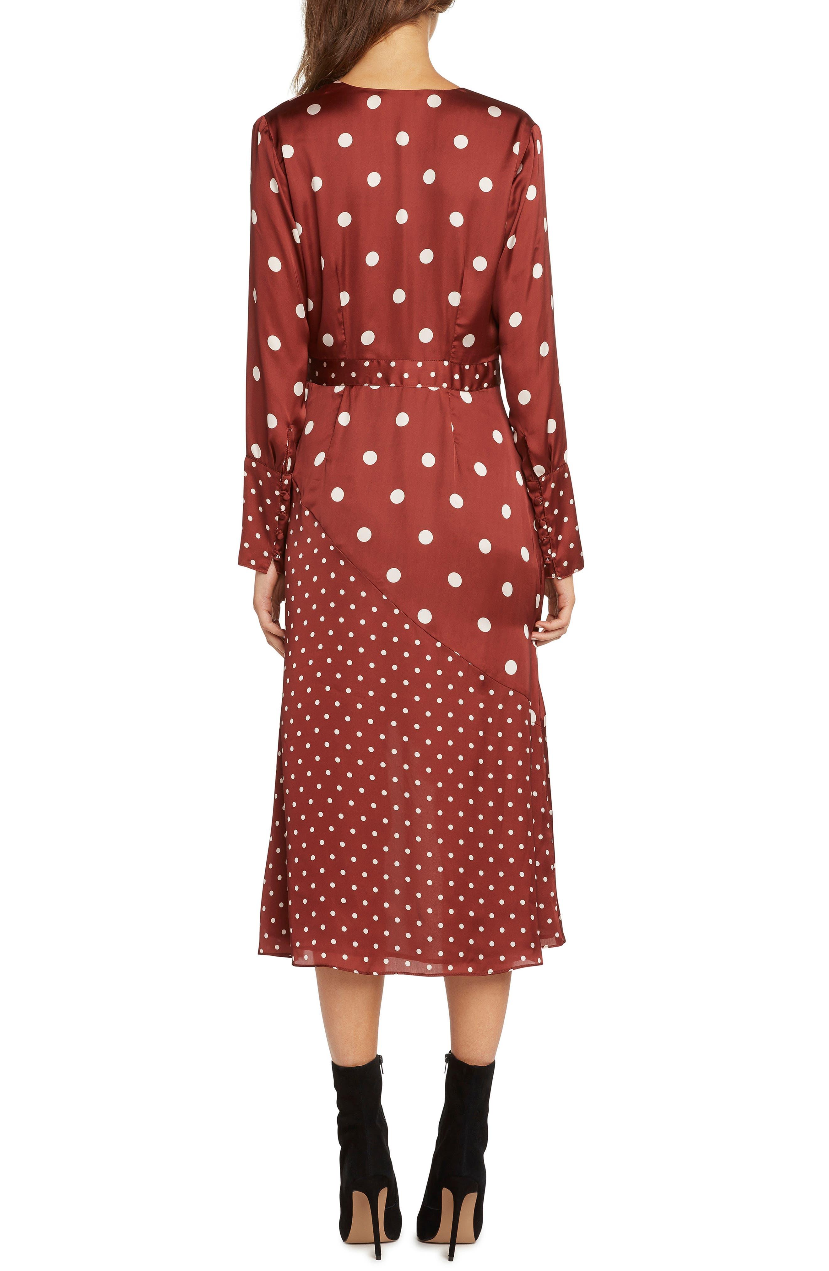 Mix Dot Satin Wrap Dress,                             Alternate thumbnail 3, color,                             RUST