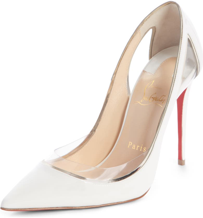 0a585ee8bb9 Christian Louboutin Cosmo 554 Patent Vinyl High-Heel Red Sole Pumps ...
