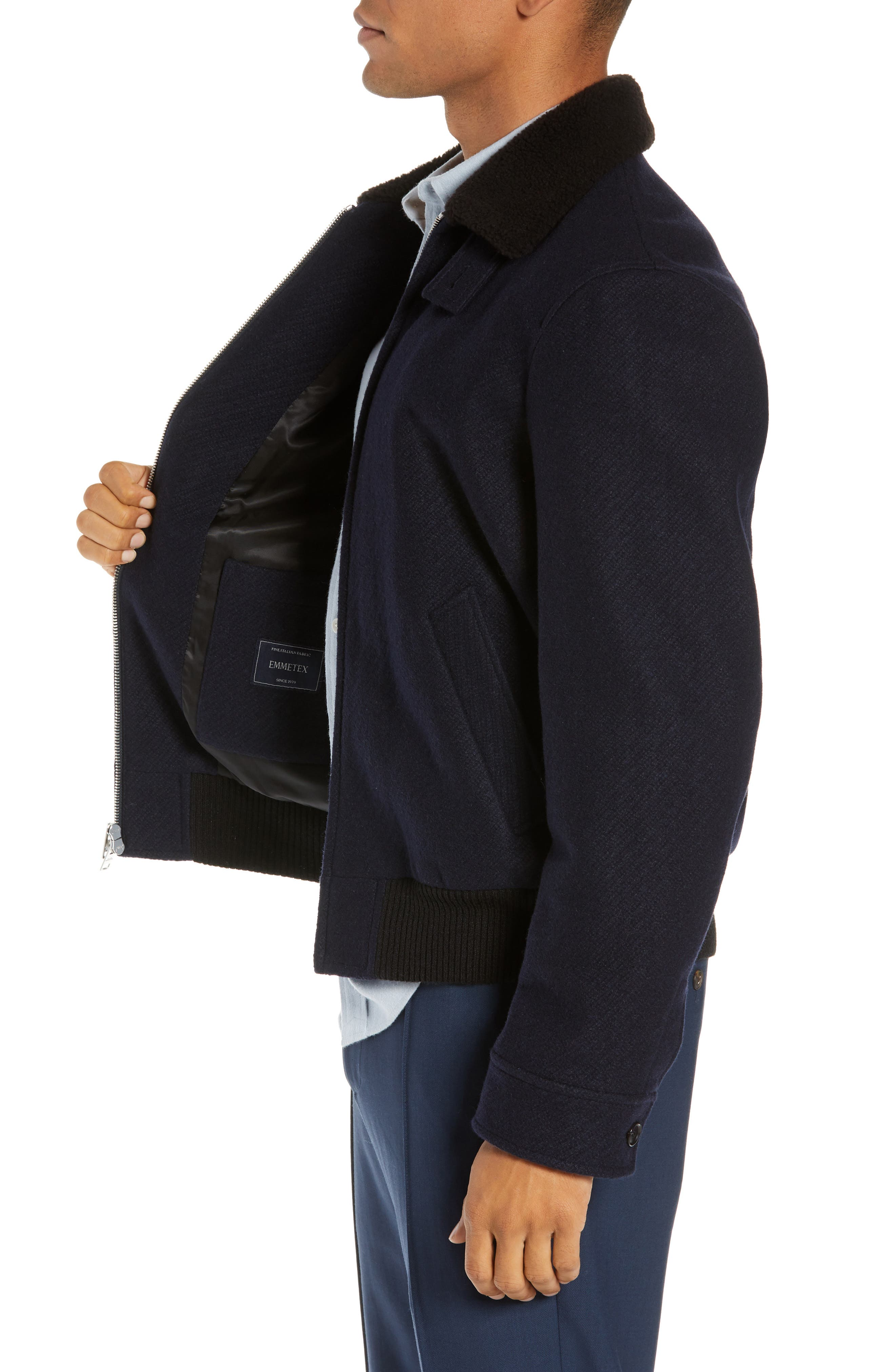 Trim Fit Bomber Jacket with Genuine Shearling Collar,                             Alternate thumbnail 3, color,                             NAVY