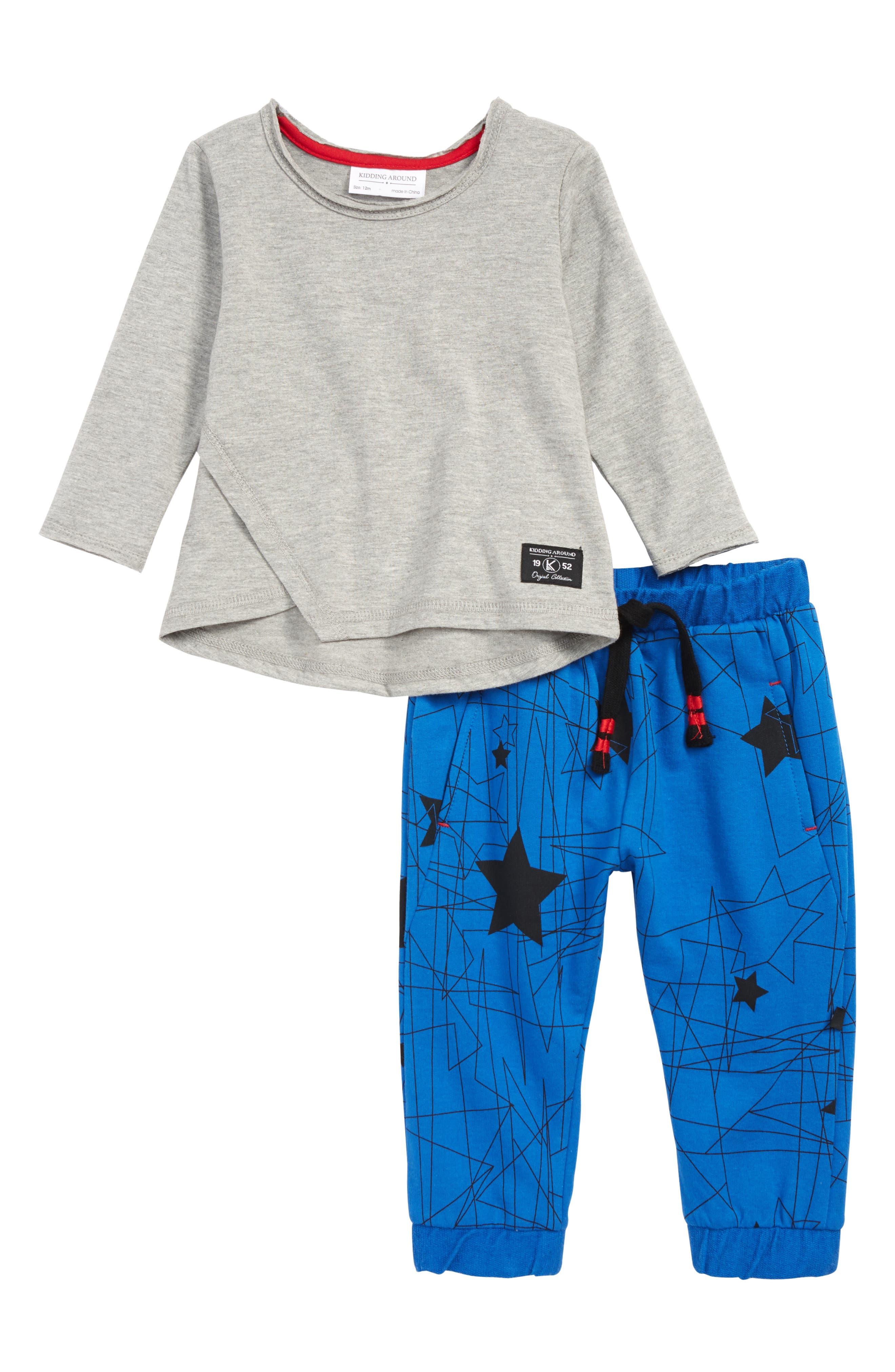 KIDDING AROUND Long Sleeve Shirt & Sweatpants Set, Main, color, HEATHER GREY/ COBALT
