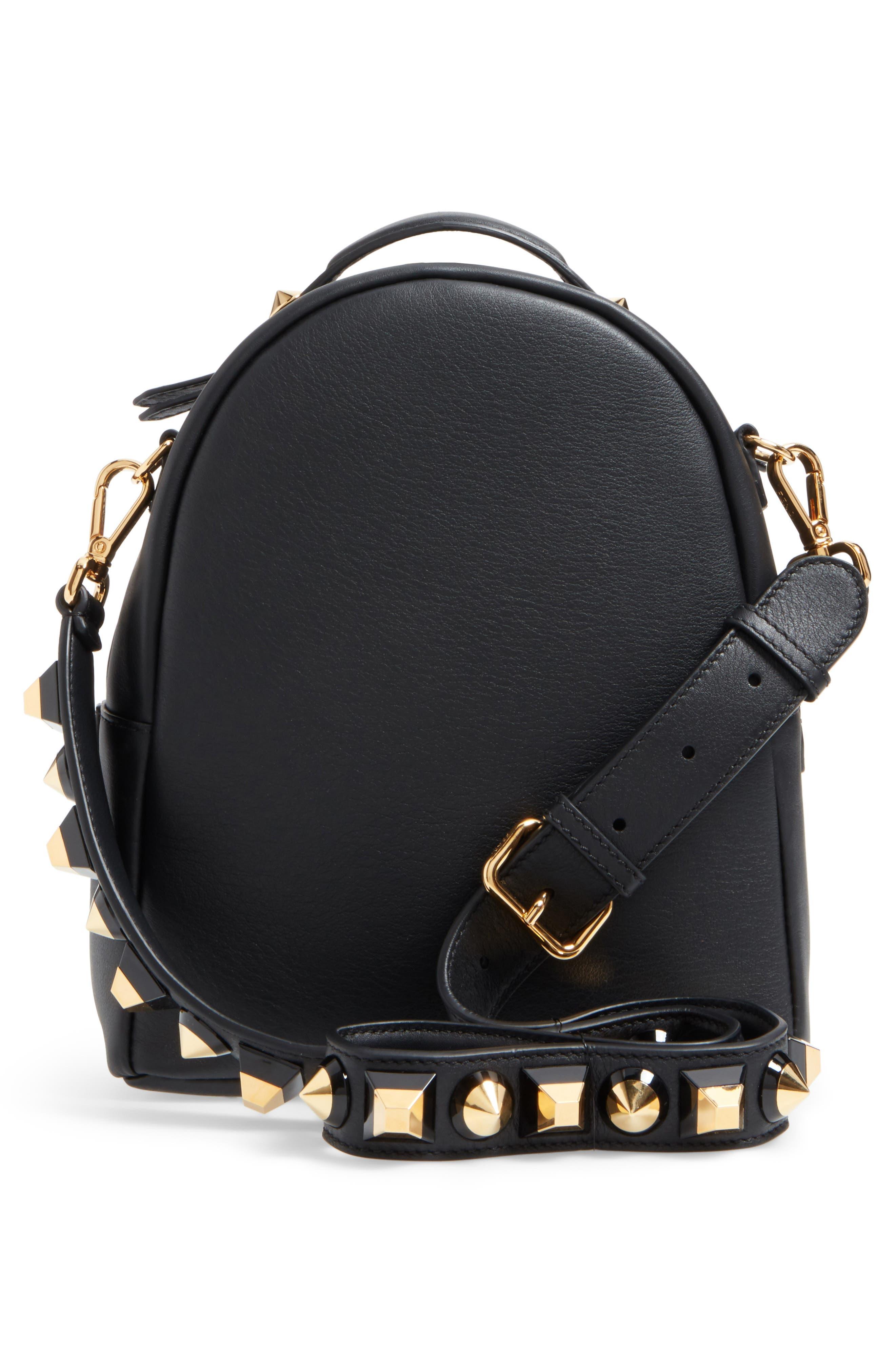 Mini Studded Leather Backpack,                             Alternate thumbnail 3, color,                             006