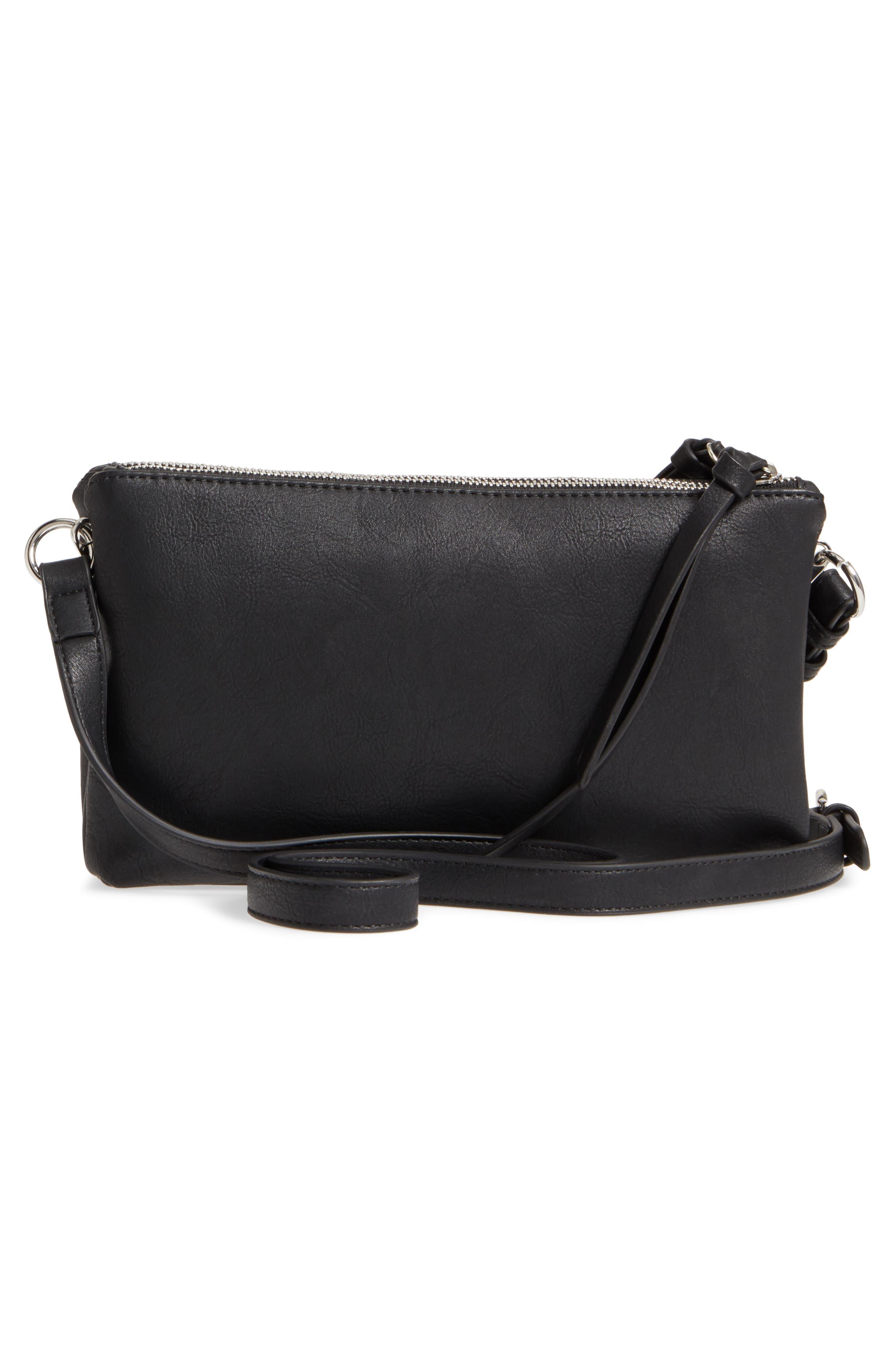 Kia Double Zip Faux Leather Crossbody Bag,                             Alternate thumbnail 3, color,                             001