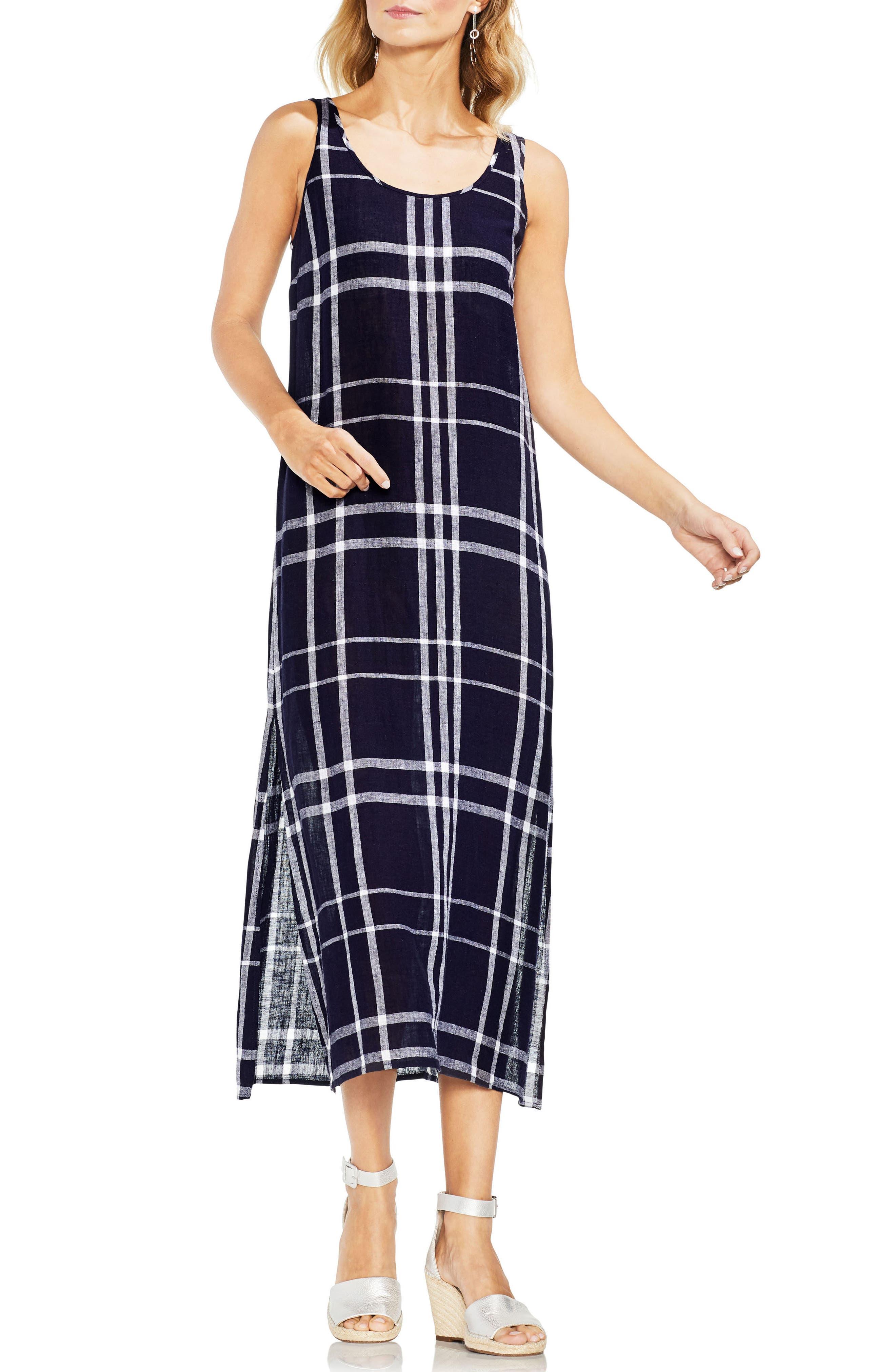 Beach Plaid Maxi Dress,                             Main thumbnail 1, color,