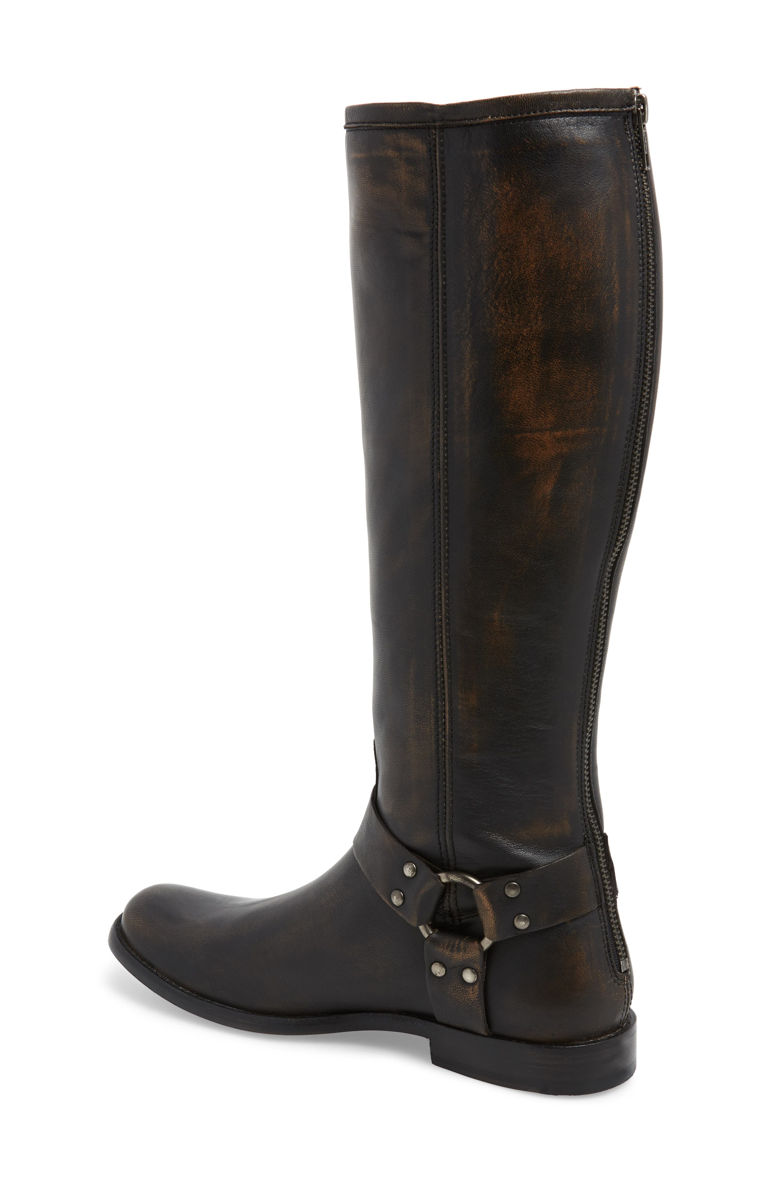 Phillip Harness Tall Boot,                             Alternate thumbnail 2, color,                             DARK BROWN LEATHER
