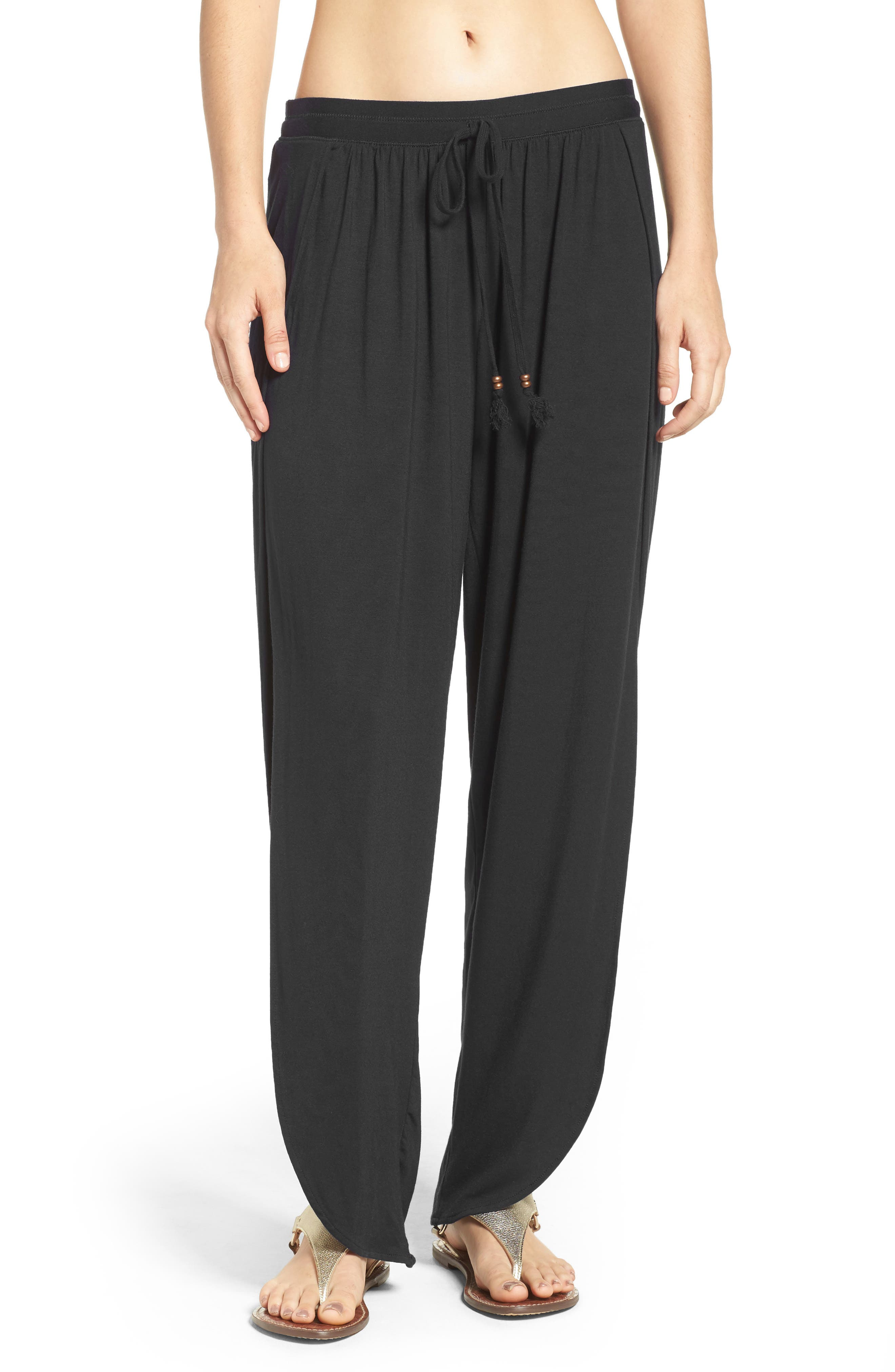 ROBIN PICCONE Side Split Cover-Up Pants, Main, color, BLACK
