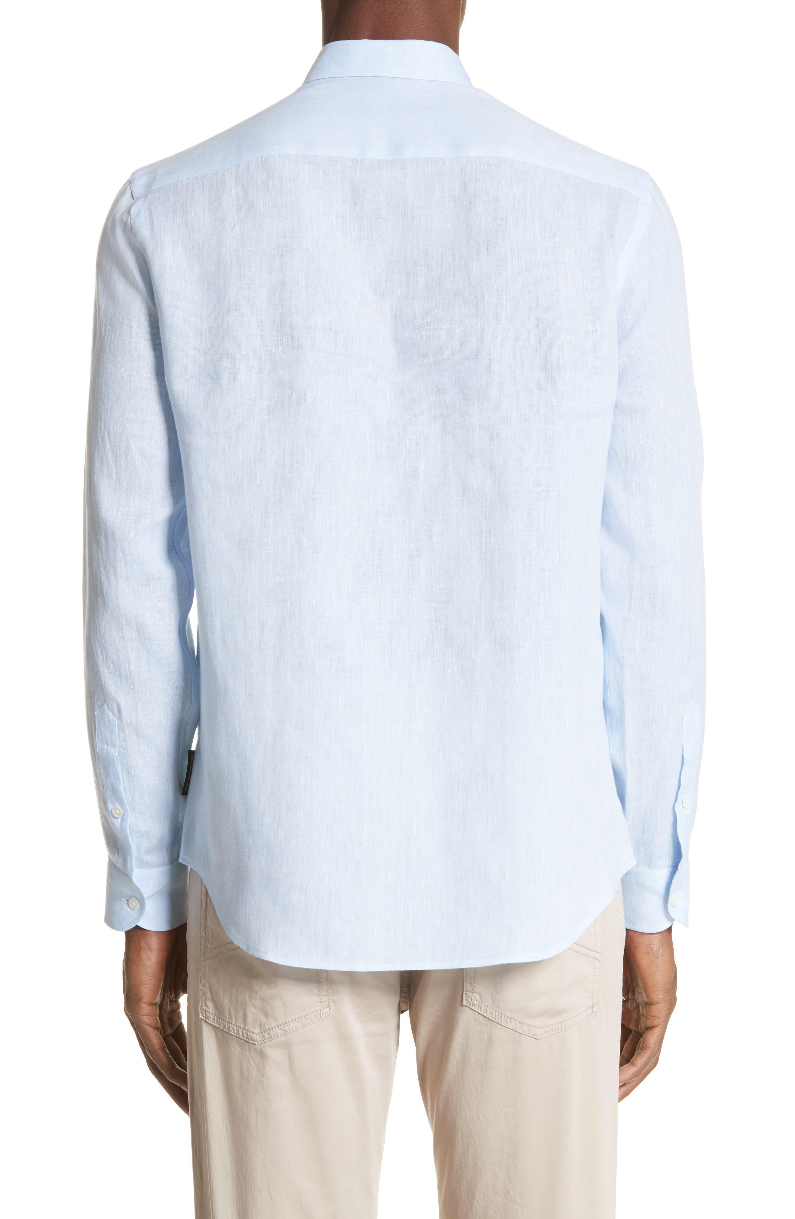 Regular Fit Linen Dress Shirt,                             Alternate thumbnail 4, color,