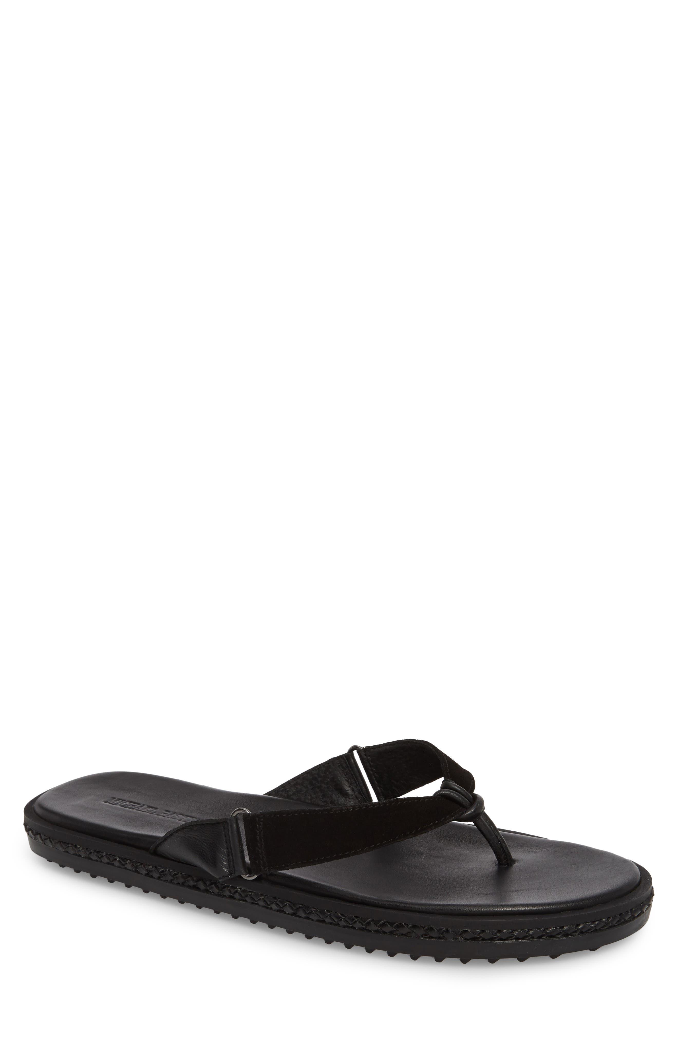 Flip Flop,                         Main,                         color, BLACK LEATHER