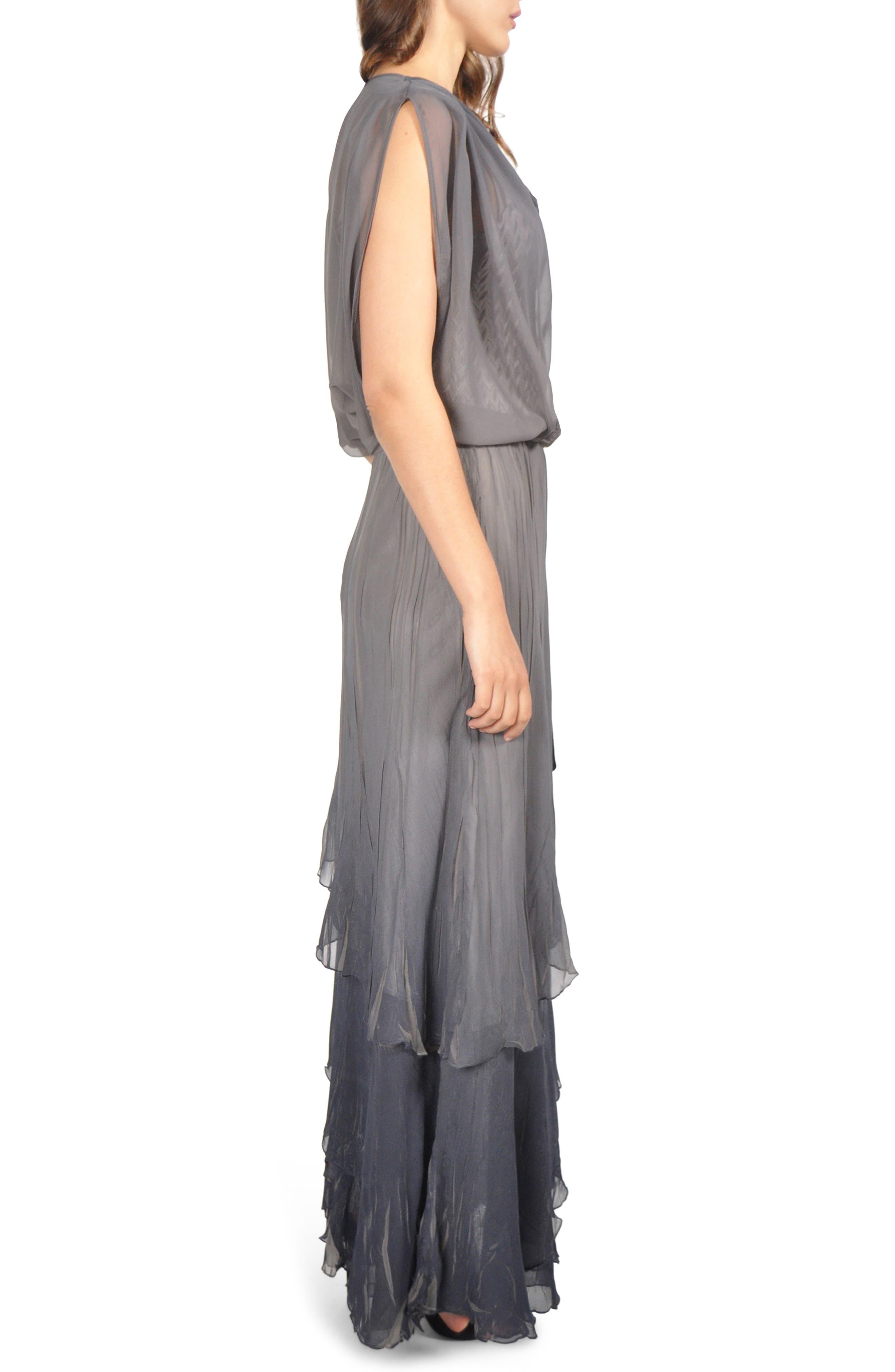 Drape Chiffon Gown,                             Alternate thumbnail 3, color,                             CONCRETE BLUE OMBRE