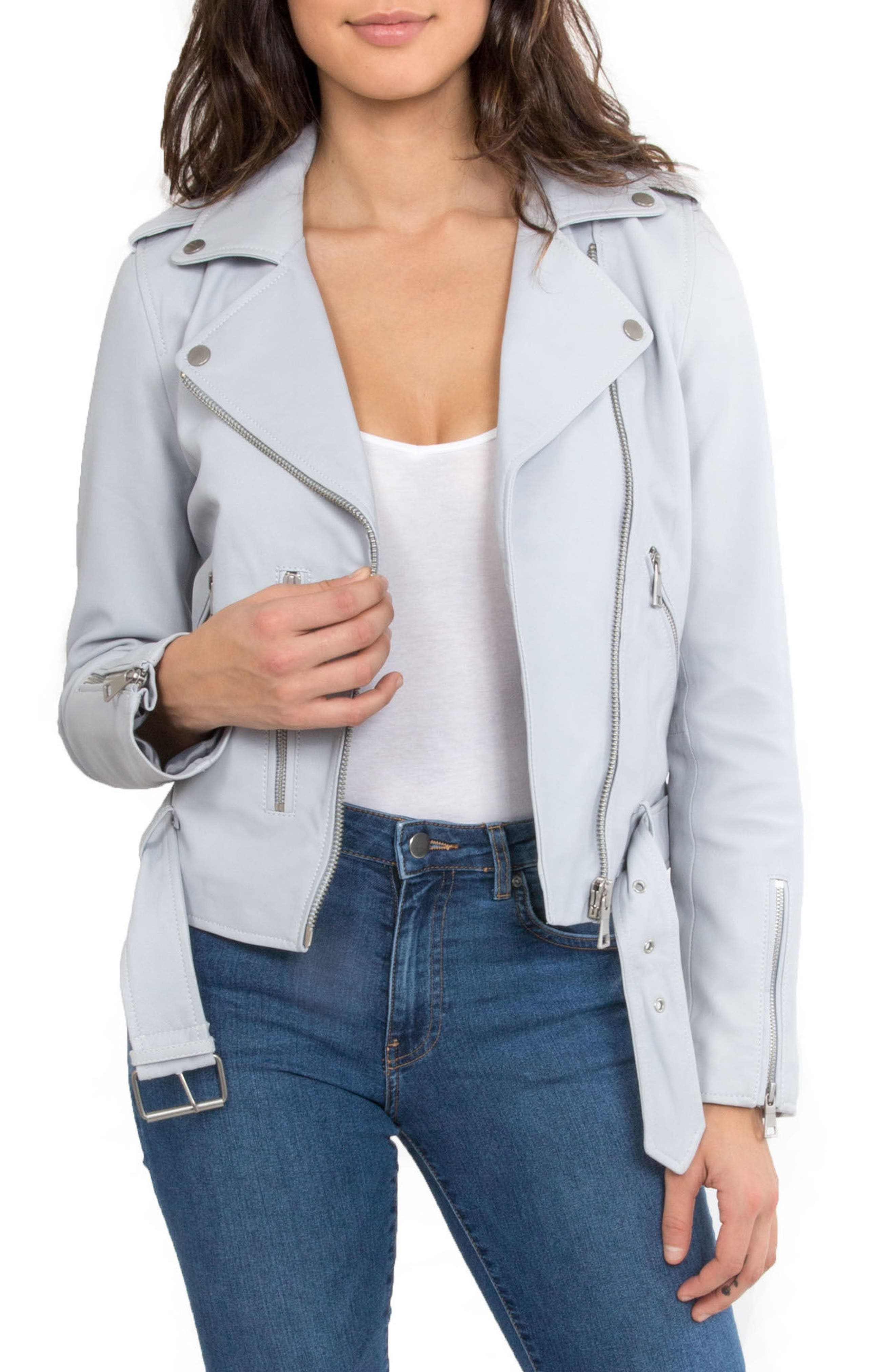 NYC  Washed Leather Biker Jacket,                             Main thumbnail 5, color,