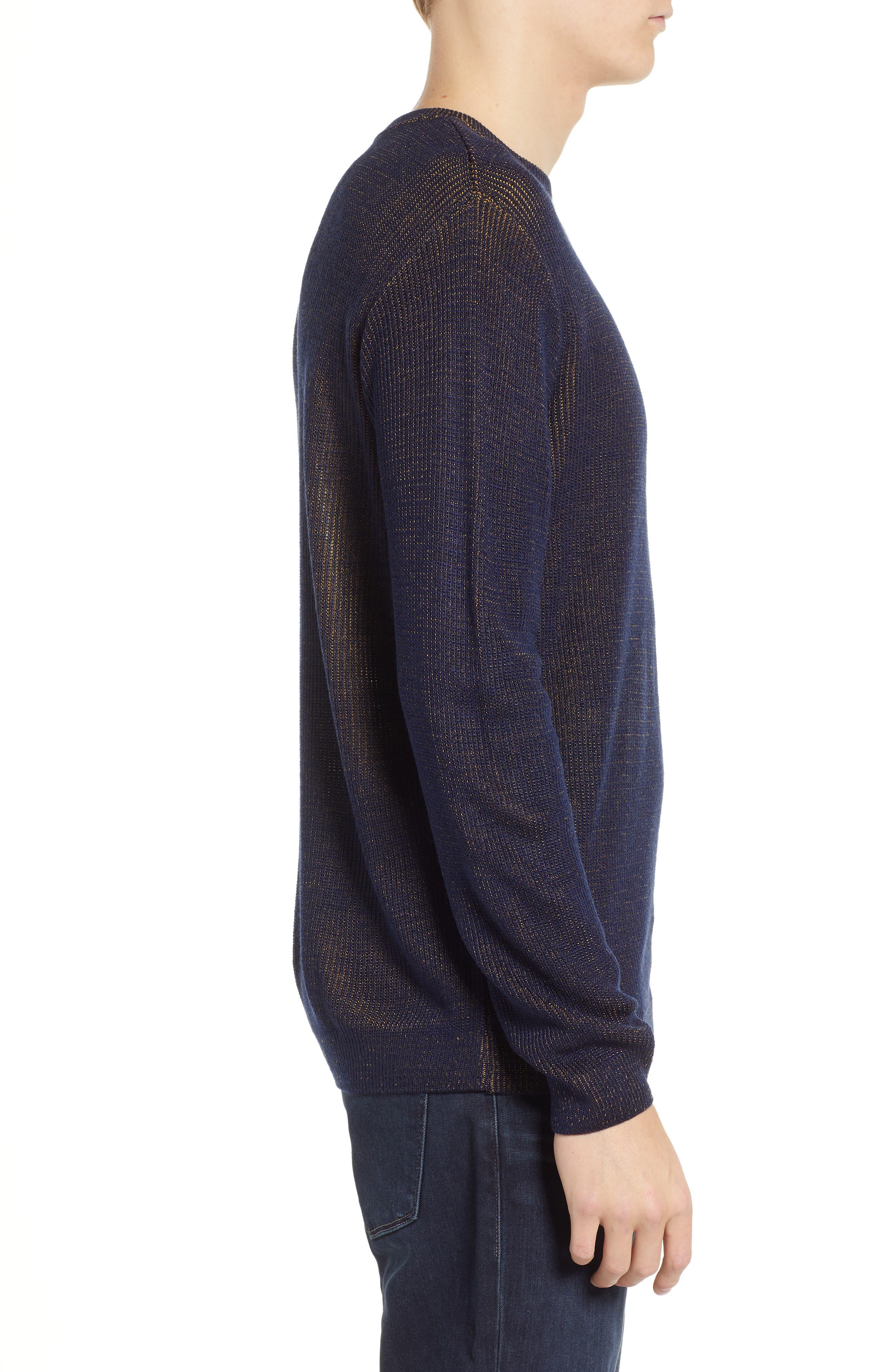 Plaited Crewneck Sweater,                             Alternate thumbnail 3, color,                             NAVY