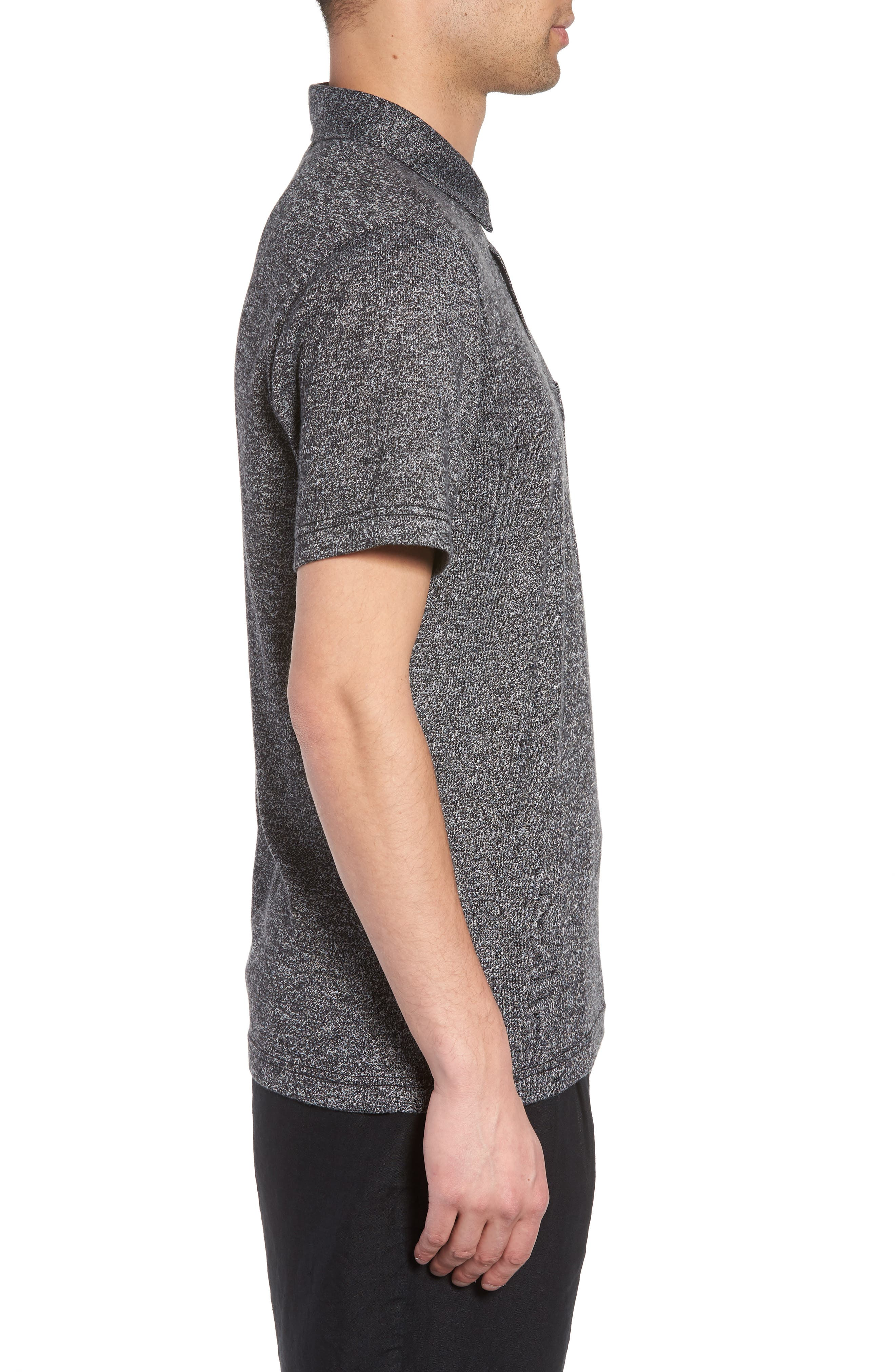 Marled Knit Polo,                             Alternate thumbnail 3, color,                             001