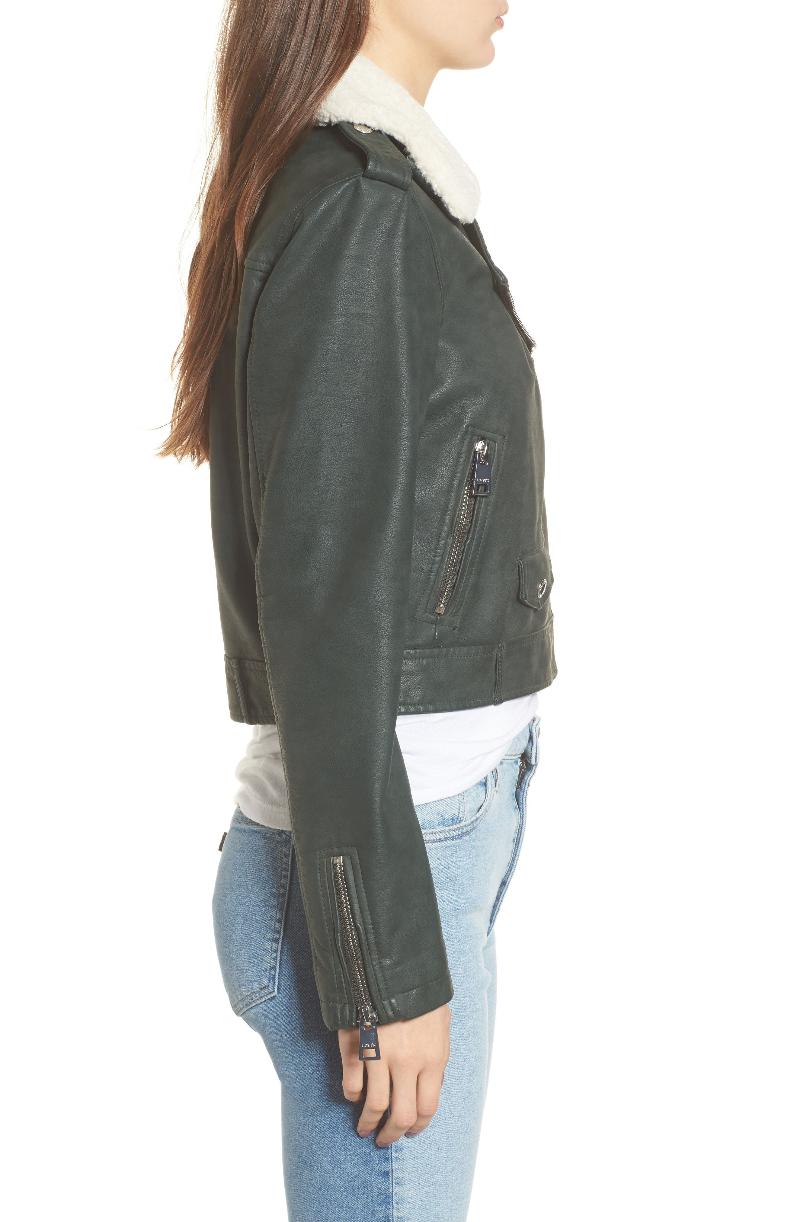 Levis<sup>®</sup> Sherpa Faux Leather Moto Jacket with Faux Fur Collar,                             Alternate thumbnail 6, color,
