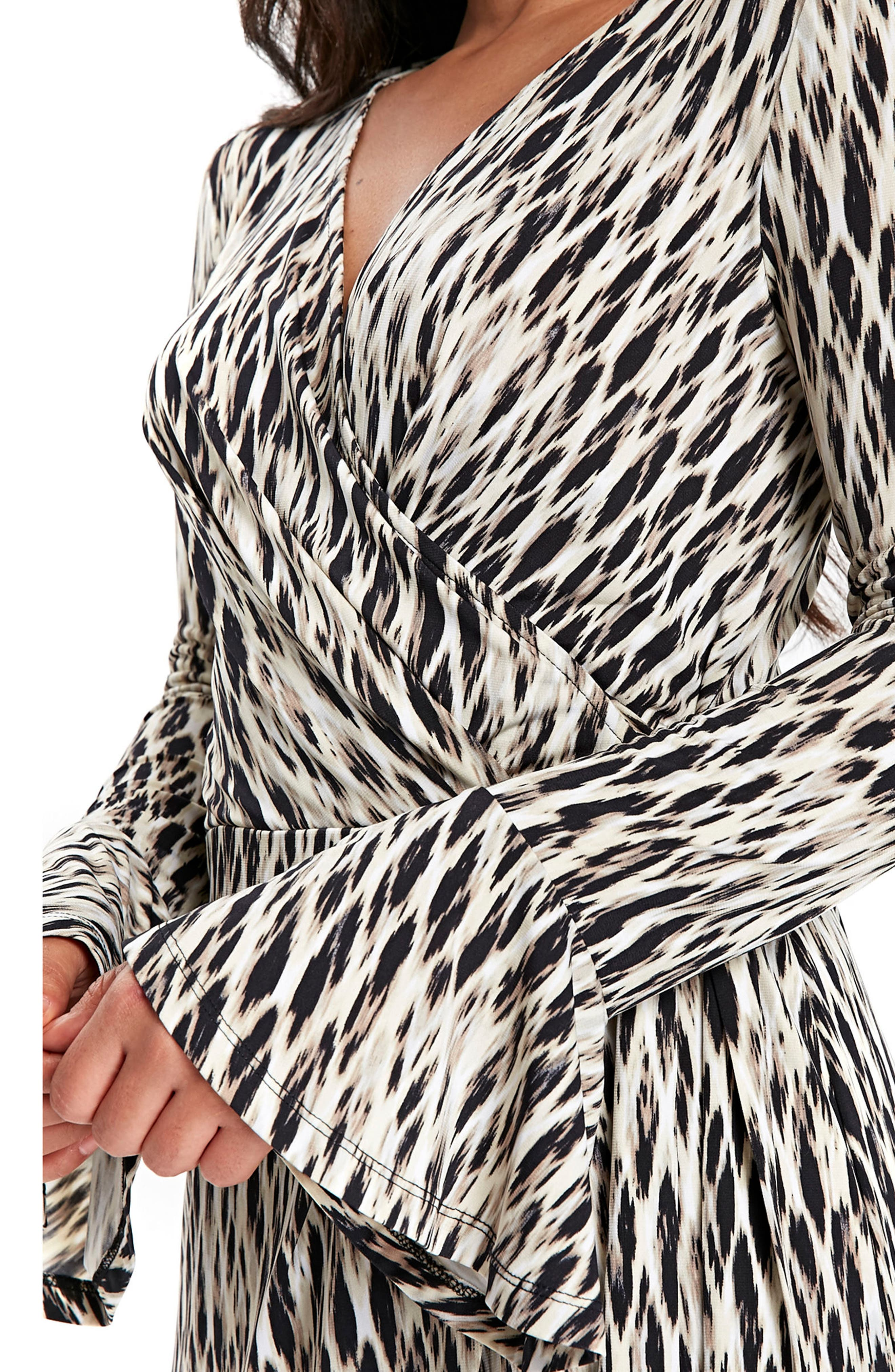 Geo Print Bell Sleeve Wrap Dress,                             Alternate thumbnail 4, color,                             001