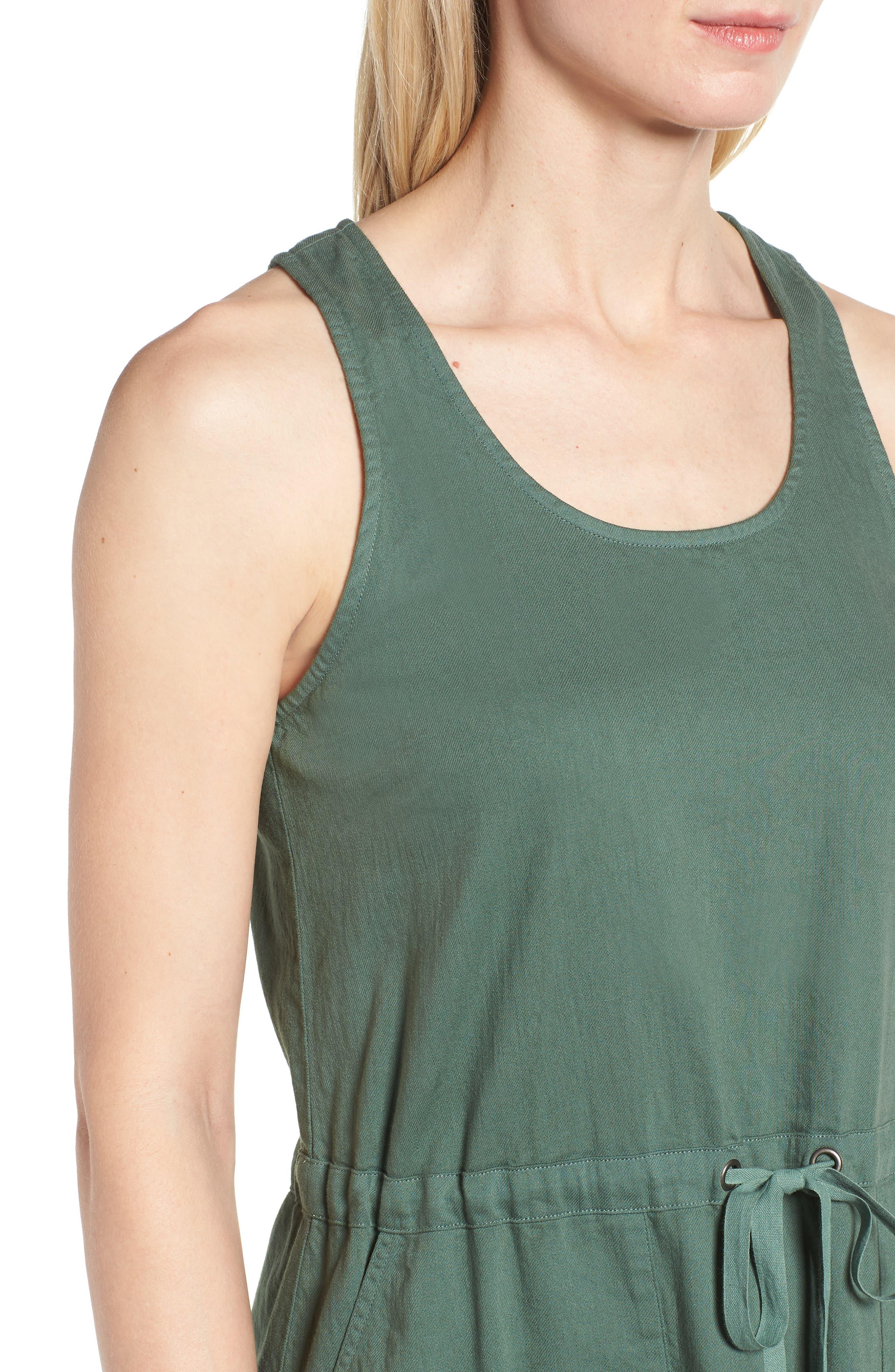Drawstring Organic Cotton Midi Dress,                             Alternate thumbnail 16, color,
