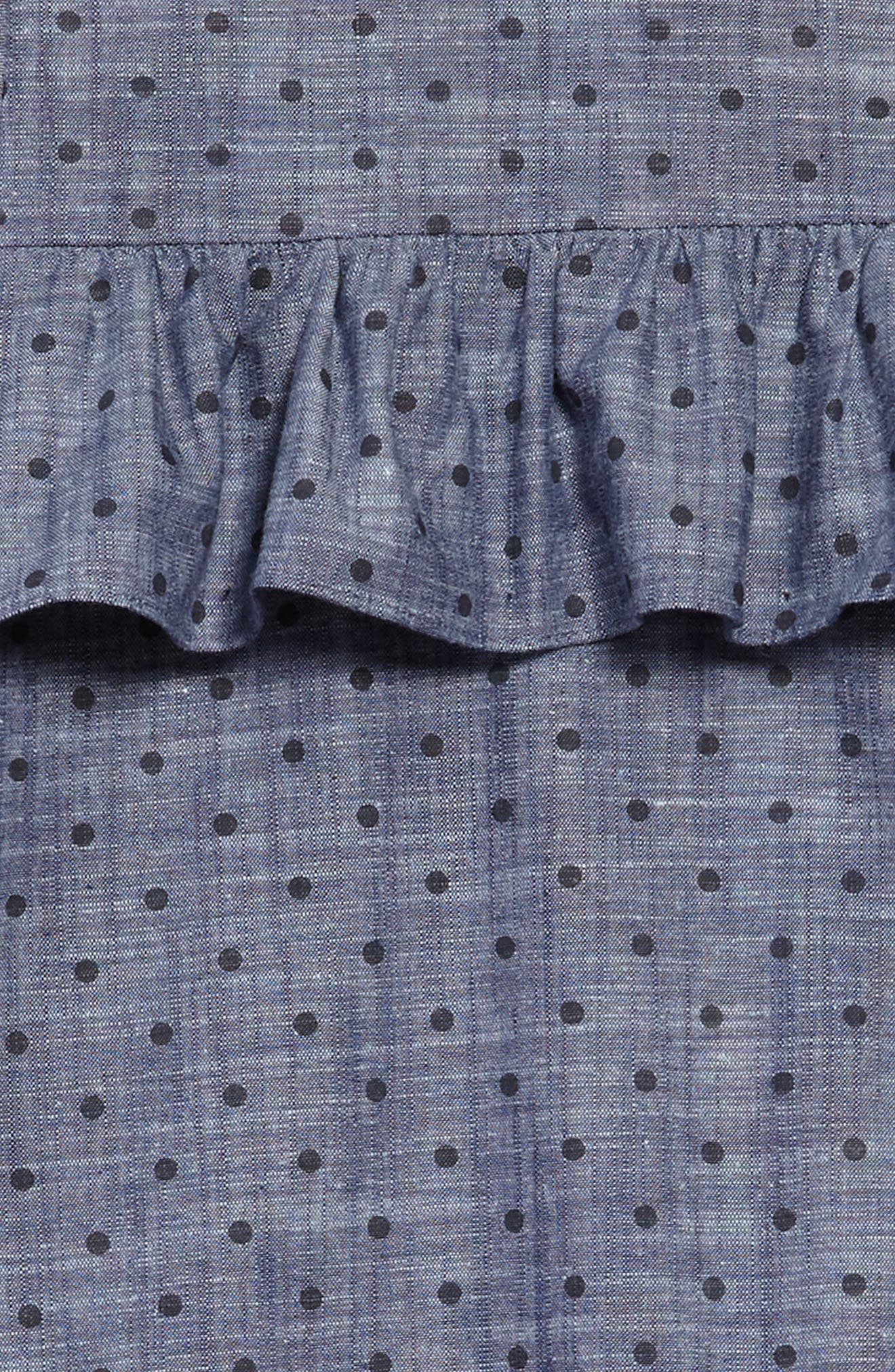 ruffle dot chambray dress,                             Alternate thumbnail 3, color,                             400