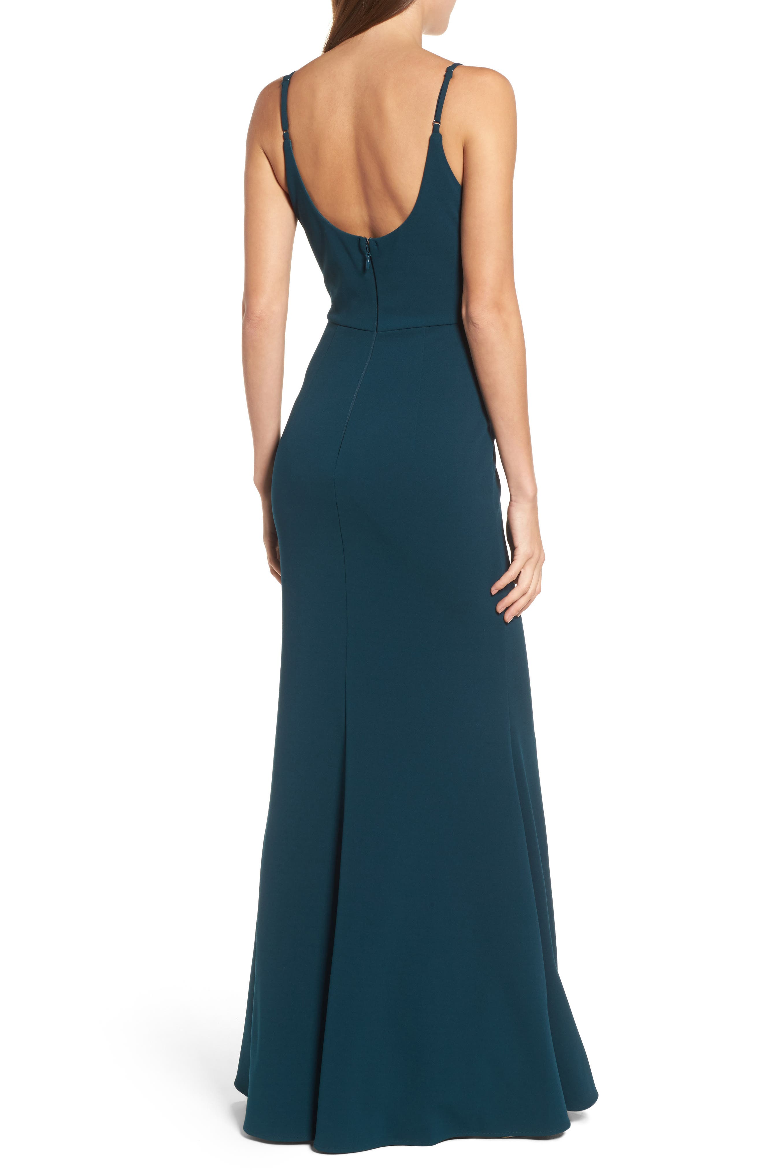 V-Neck Trumpet Gown,                             Alternate thumbnail 2, color,                             EMERALD