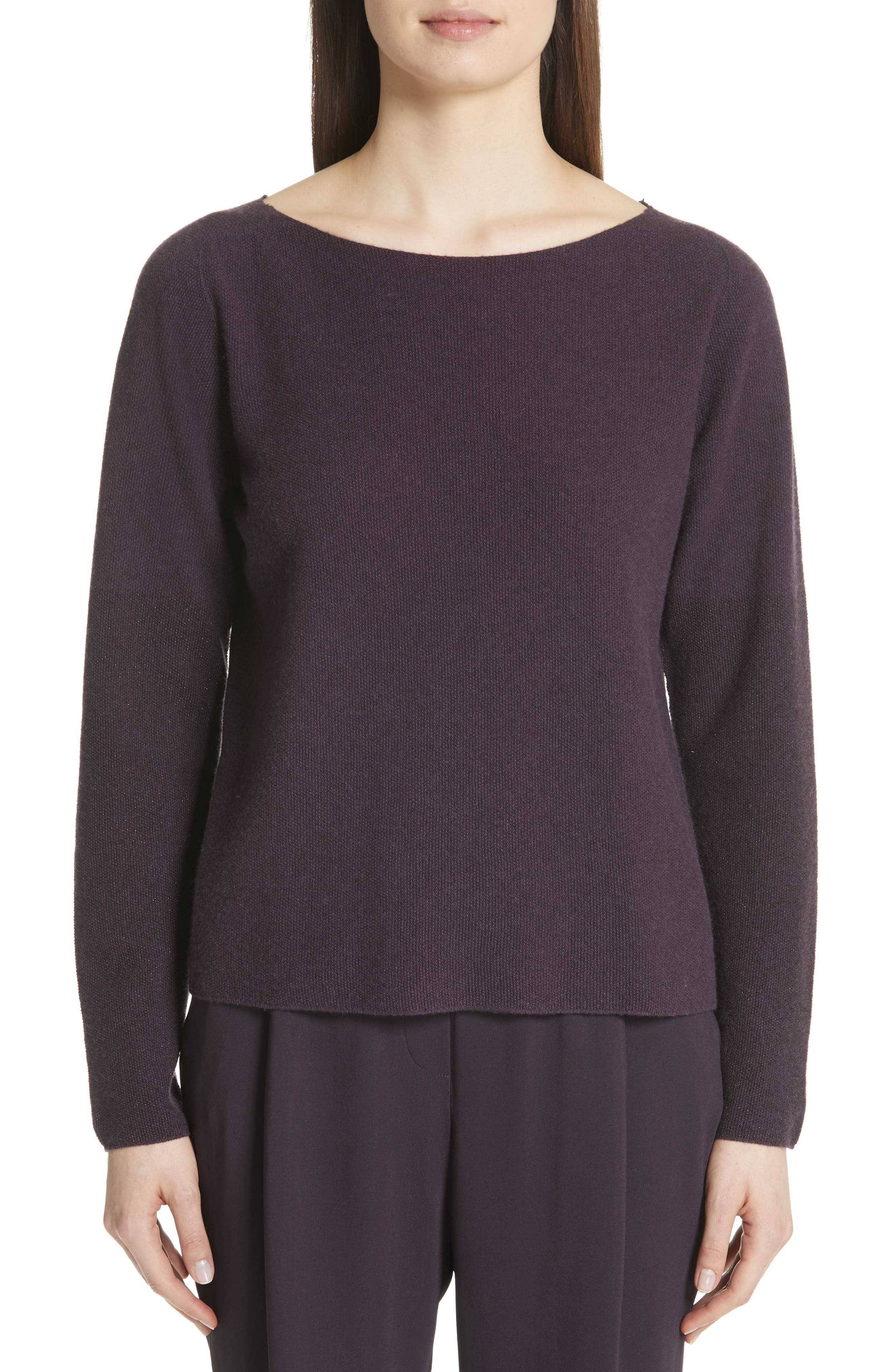 Fabiana Filippi Metallic Sleeve Merino Wool, Silk & Cashmere Sweater, US / 44 IT - Purple