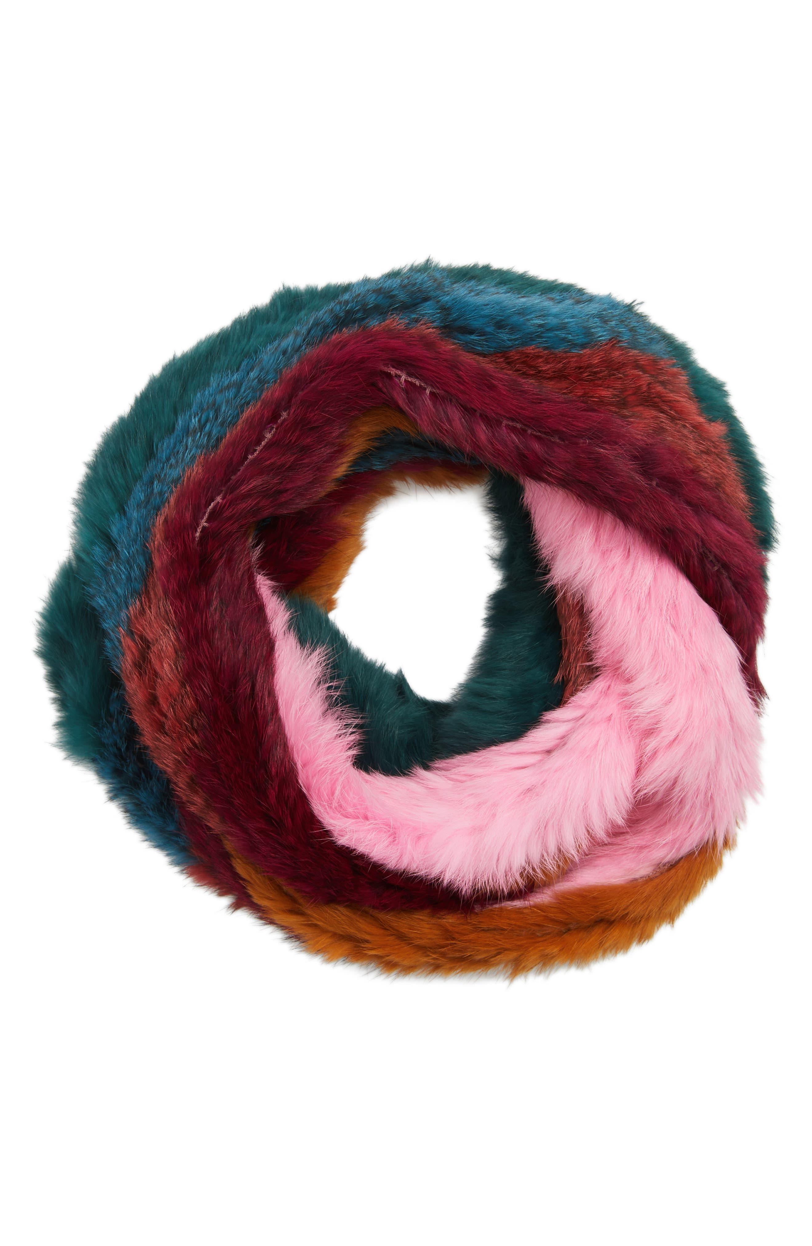 Striped Genuine Rabbit Fur Infinity Scarf,                             Alternate thumbnail 2, color,                             600