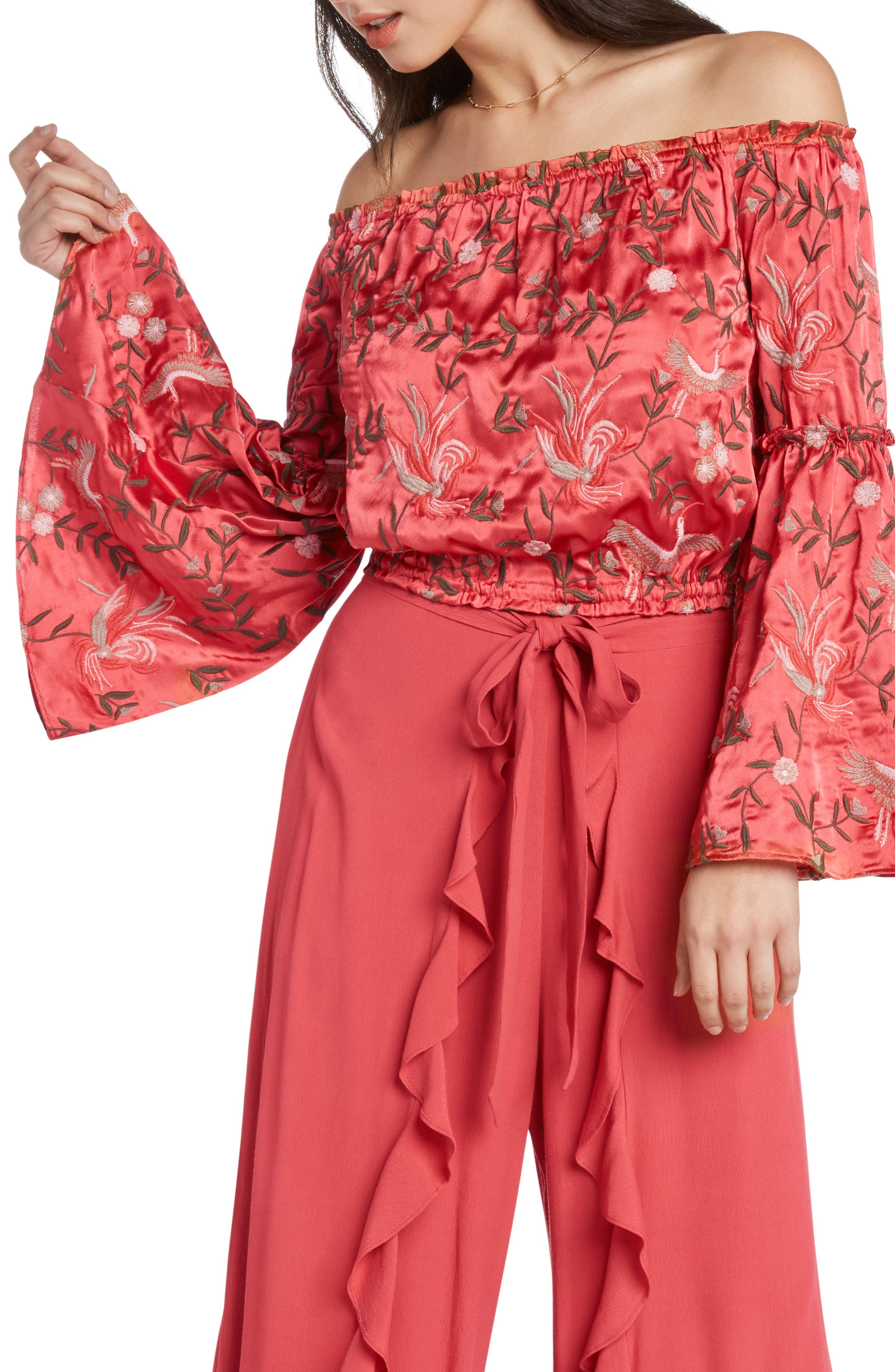 Embroidered Off the Shoulder Top,                             Main thumbnail 1, color,                             CORAL