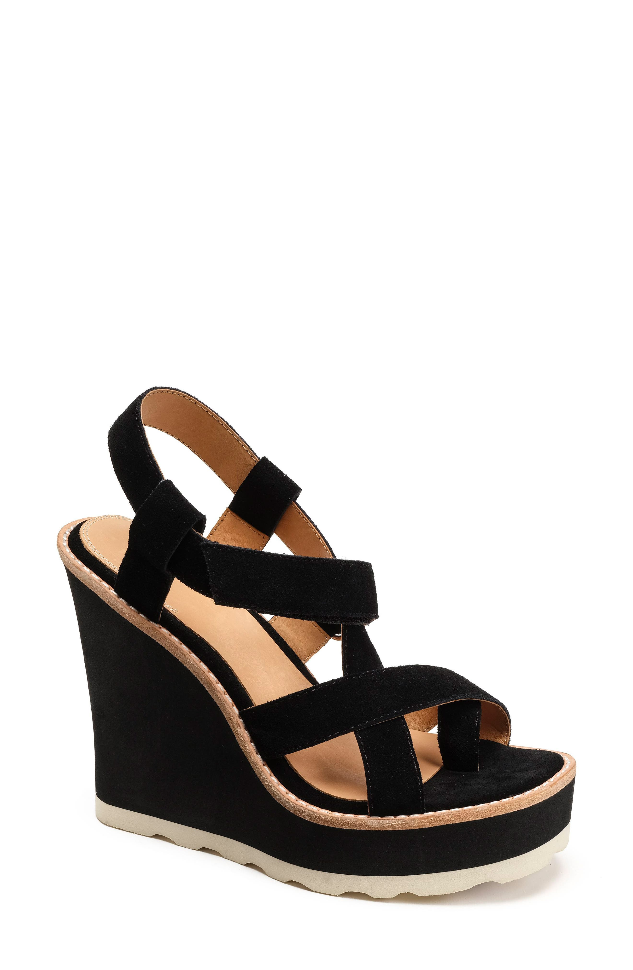 Rae Strappy Wedge Sandal,                             Main thumbnail 1, color,                             001