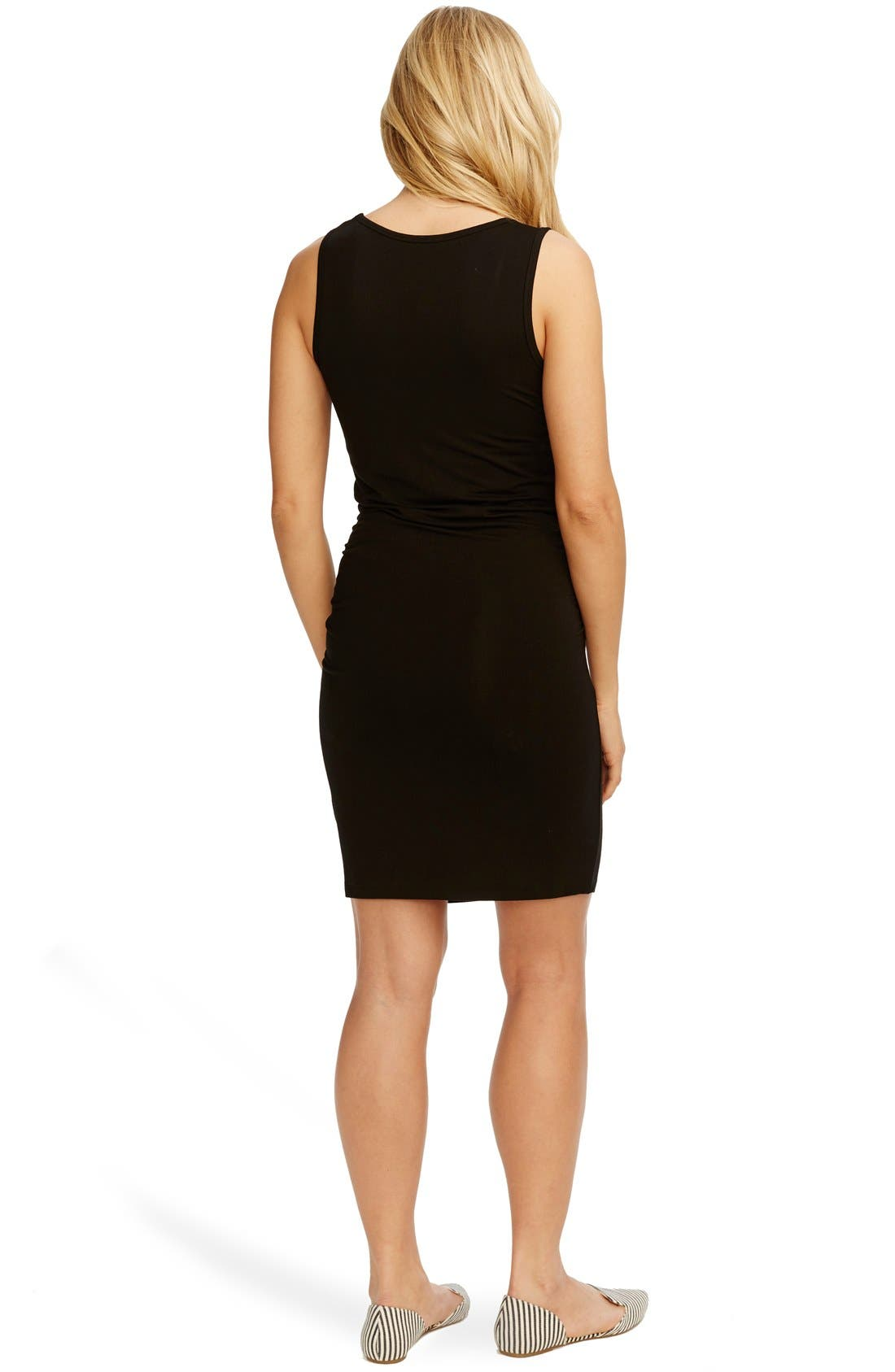 'Kimberly' Ruched Side Maternity Tank Dress,                             Alternate thumbnail 2, color,                             BLACK
